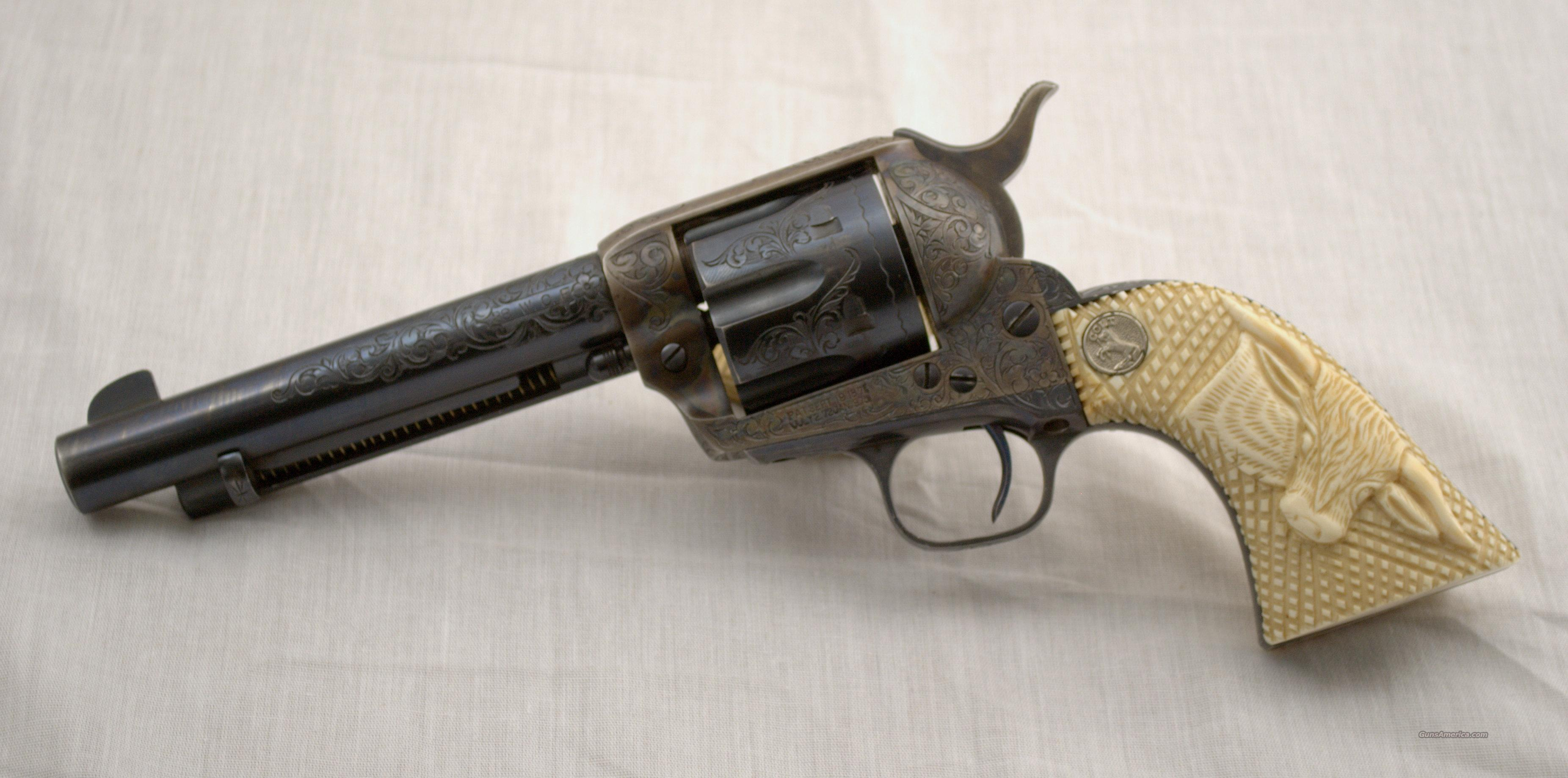 COLT SINGLE ACTION ARMY FACTORY ENGRAVED IVORY GRIP 38/40 CALIBER  Guns > Pistols > Colt Single Action Revolvers - 1st Gen.