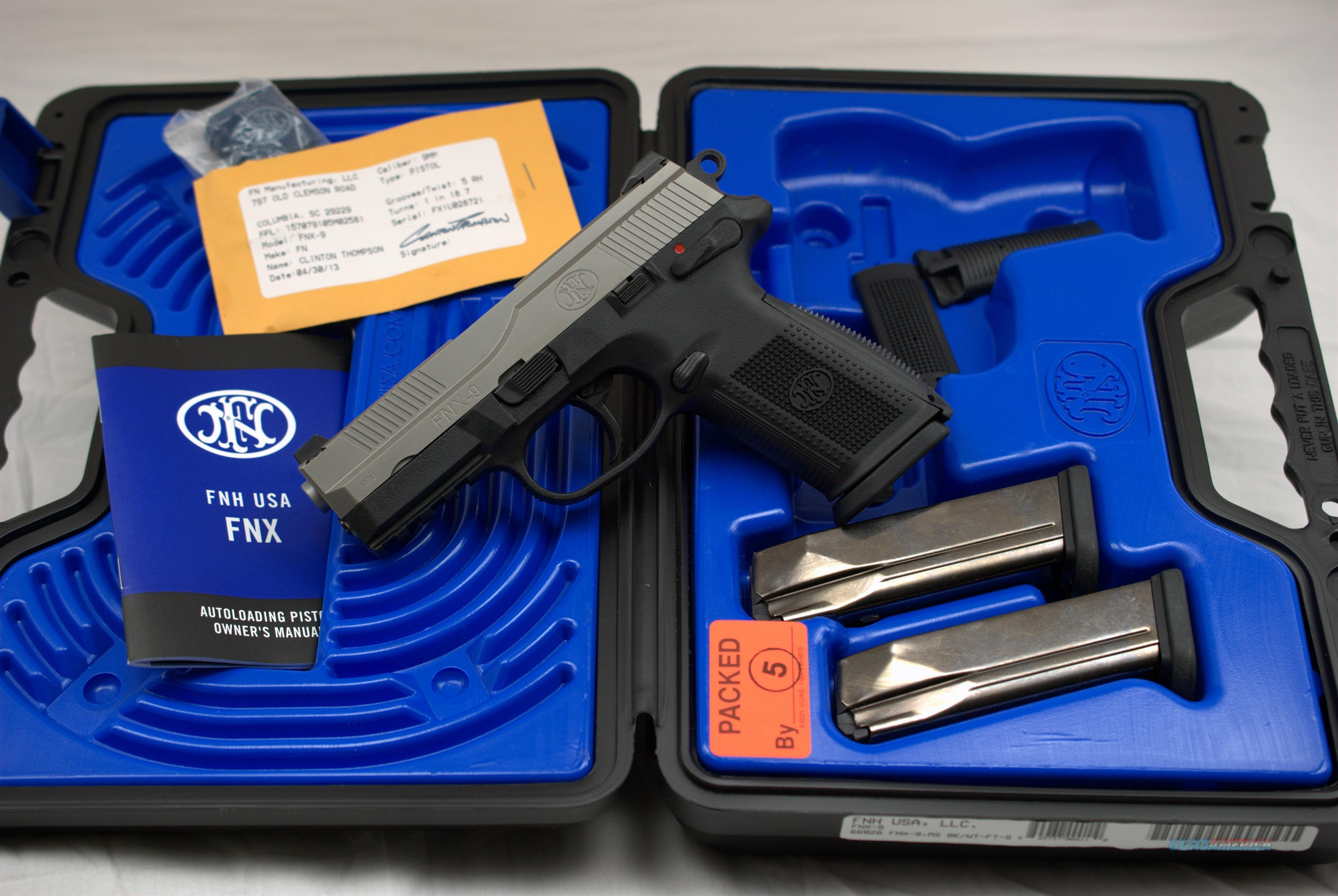 FNH FNX9 9mm 2 Tone DA/SA 3 MAGS Day sights 66826   Guns > Pistols > FNH - Fabrique Nationale (FN) Pistols > FNX