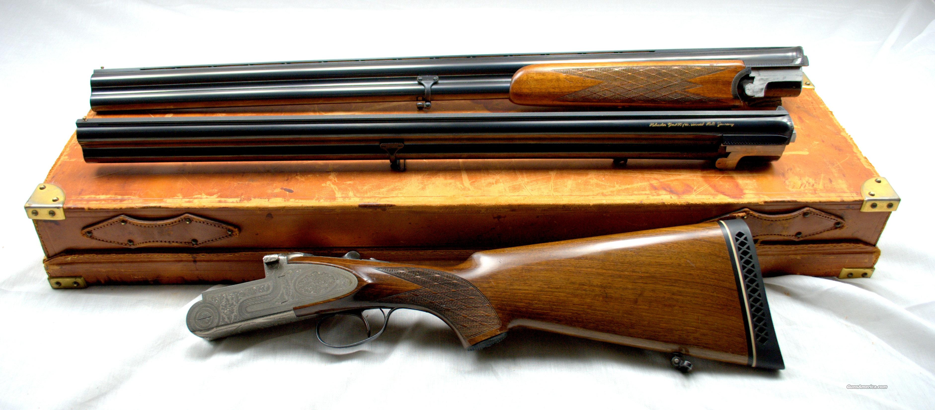 HEBSACKER SUPERPOSED ENGRAVED TWO BARREL SET 12GA  Guns > Shotguns > H Misc Shotguns