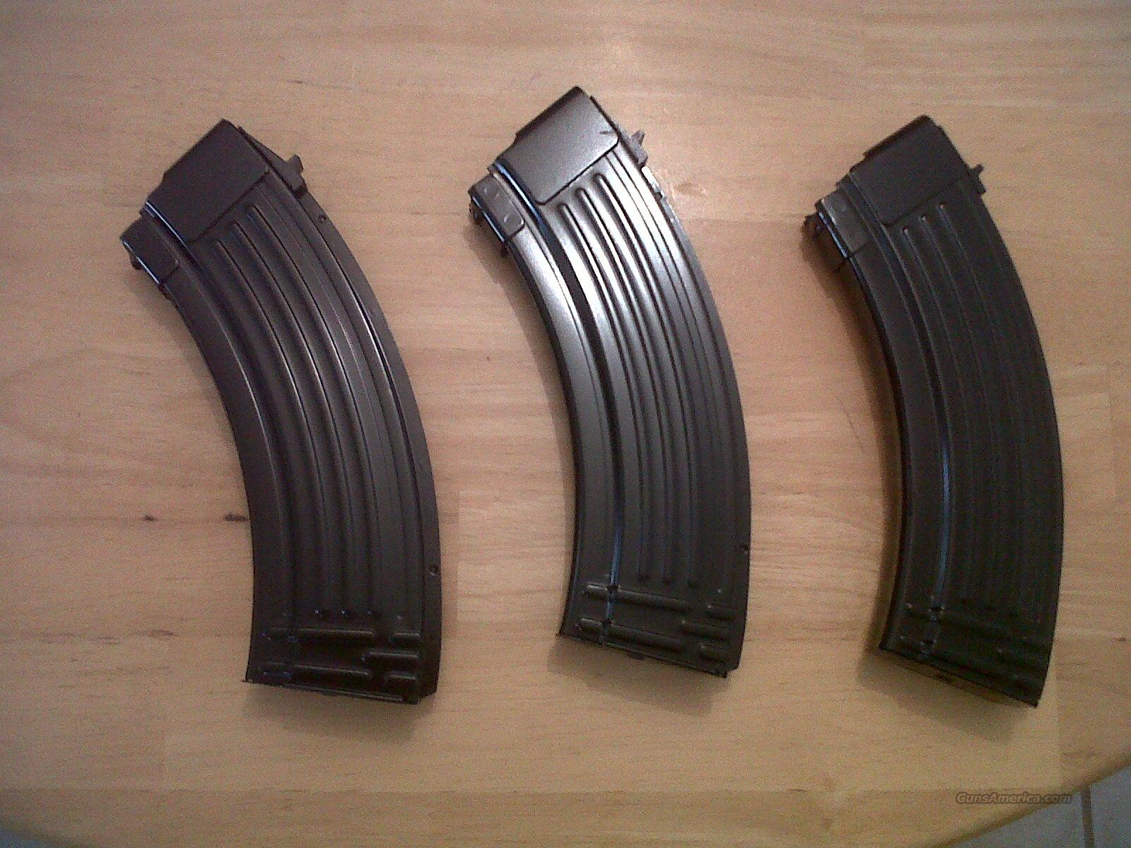AK47 7.62x39 (3) pack NEW AK 47 brand new flawless magazines 30 round magazines high gloss finish price is for a 3 pack of them! ADD $35 a piece to add more to your order Price reduced!ak47  Non-Guns > Magazines & Clips > Rifle Magazines > AK Family