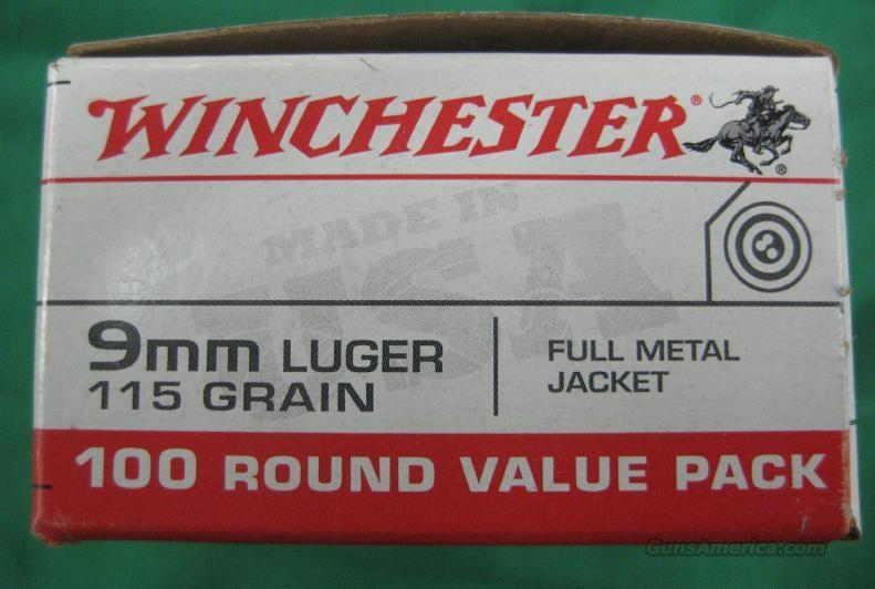 Winchester 9mm luger ammo, ammunition,bullets,rounds,115 grain full metal jacket 100 rounds 1 box.target  Non-Guns > Ammunition