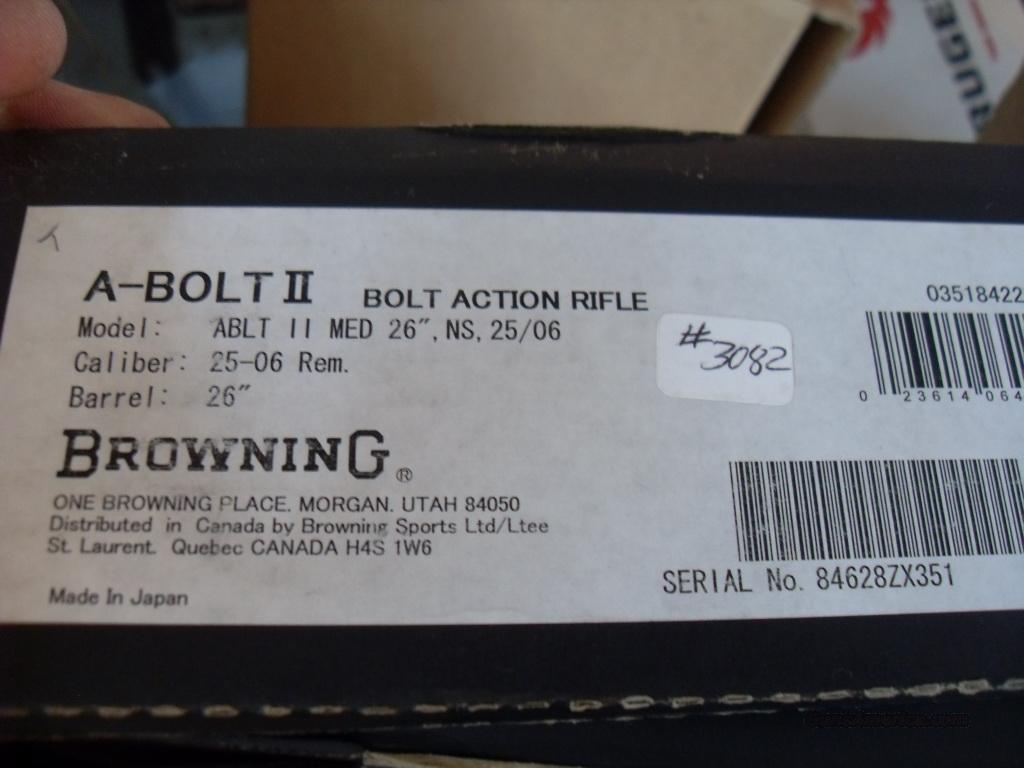nib discontinued browning abolt medallion 25-06  Guns > Rifles > Browning Rifles > Bolt Action > Hunting > Blue