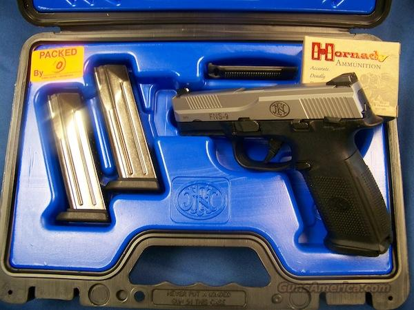 FnHerstal FNS-9 (stainless slide/black frame)  Guns > Pistols > FNH - Fabrique Nationale (FN) Pistols > High Power Type