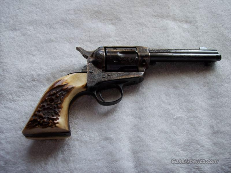 COLT FRONTIER SIX SHOOTER - FULLY ENGRAVED W/STAG GRIPS  Guns > Pistols > Colt Single Action Revolvers - 1st Gen.