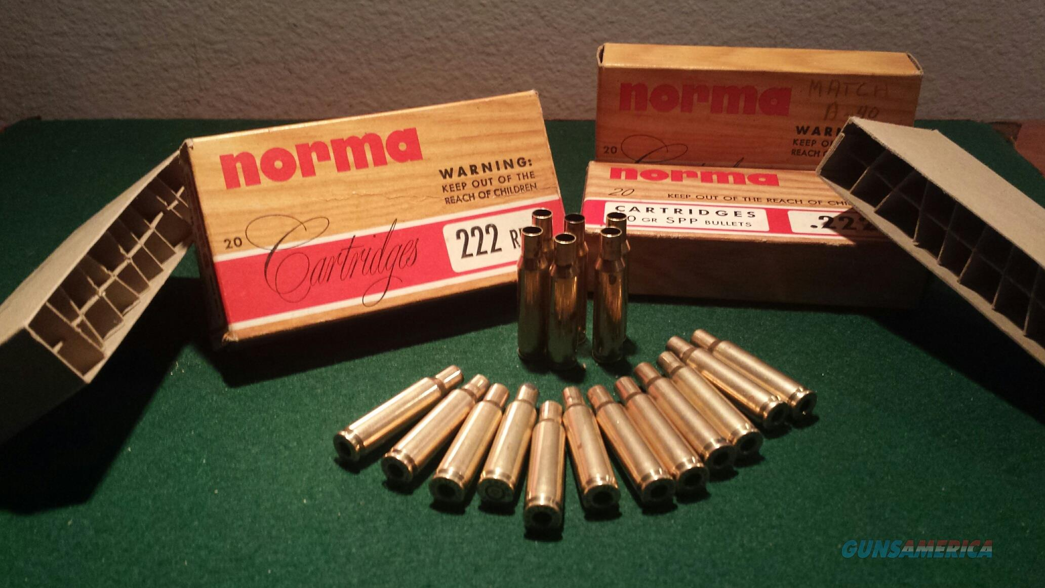 NORMA ORIGINAL ammunition BOXES  222 caliber over 55 years old circa 1960  Non-Guns > Reloading > Components > Brass