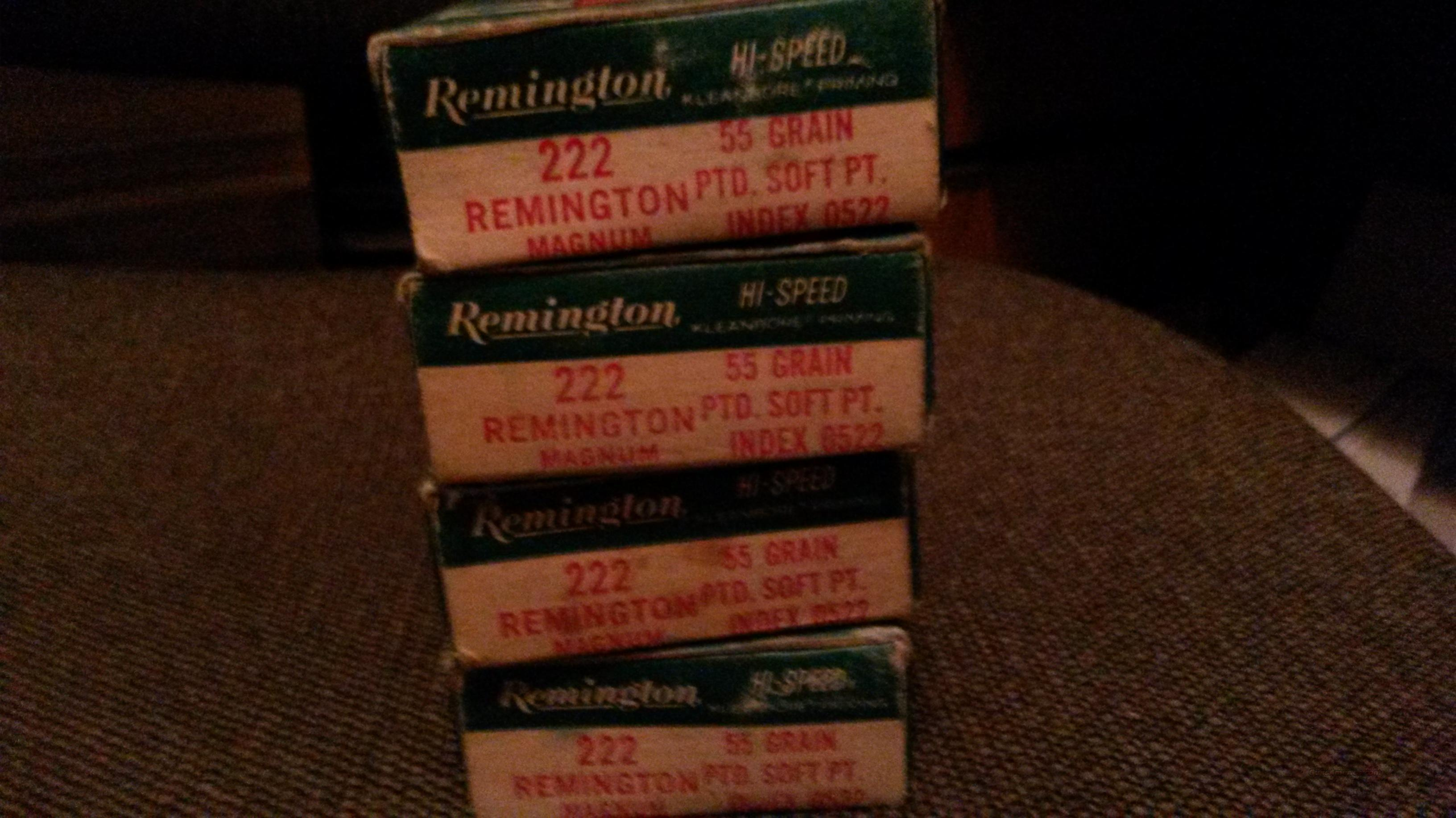 Remington .222 magnum ammo 4 boxes  Non-Guns > Ammunition