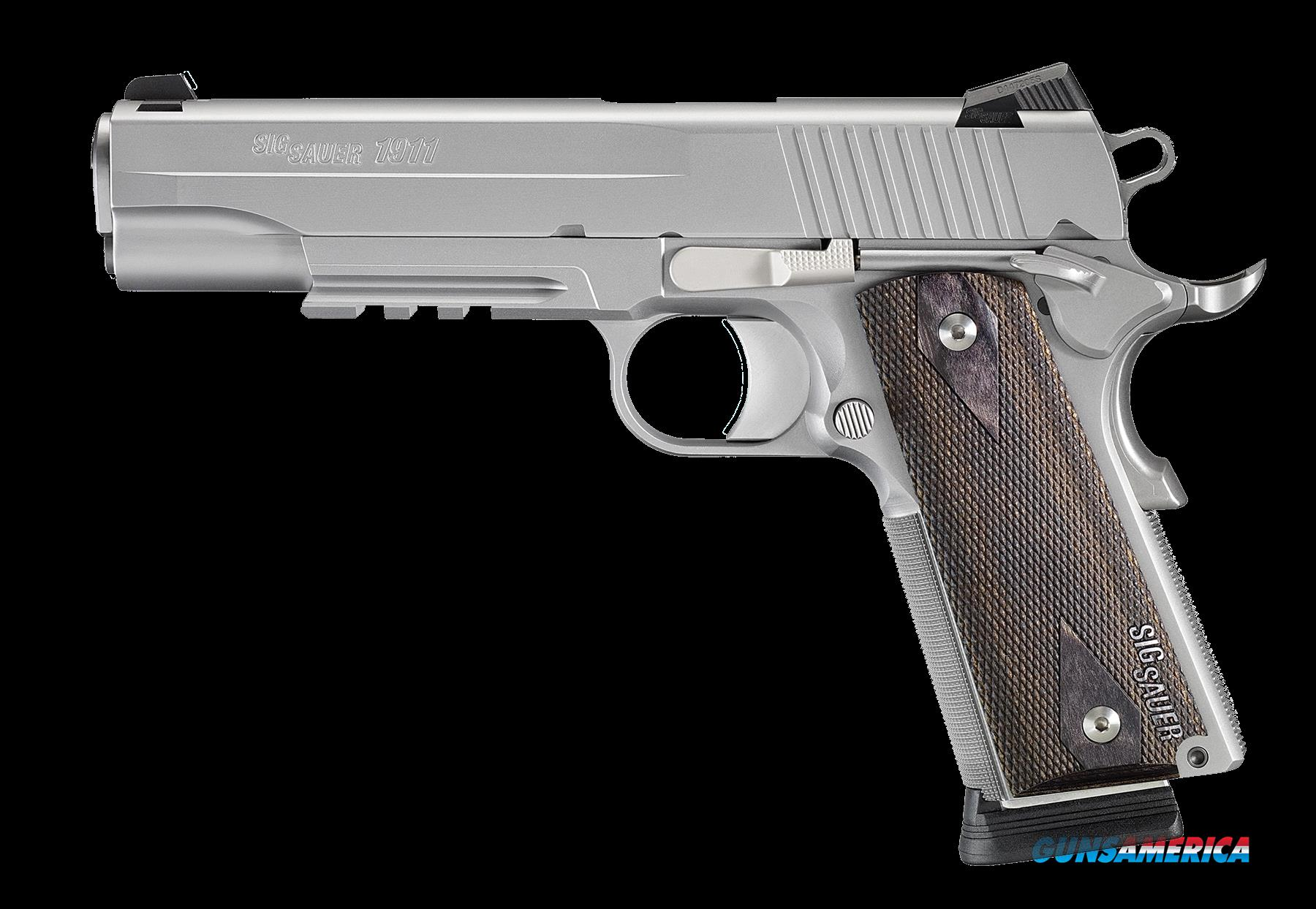 "Sig 1911RM45SSS 1911 Rail *MA Compliant* 45ACP 5"" 8+1 NS Blackwood Grips SS  Guns > Pistols > Sig - Sauer/Sigarms Pistols > 1911"