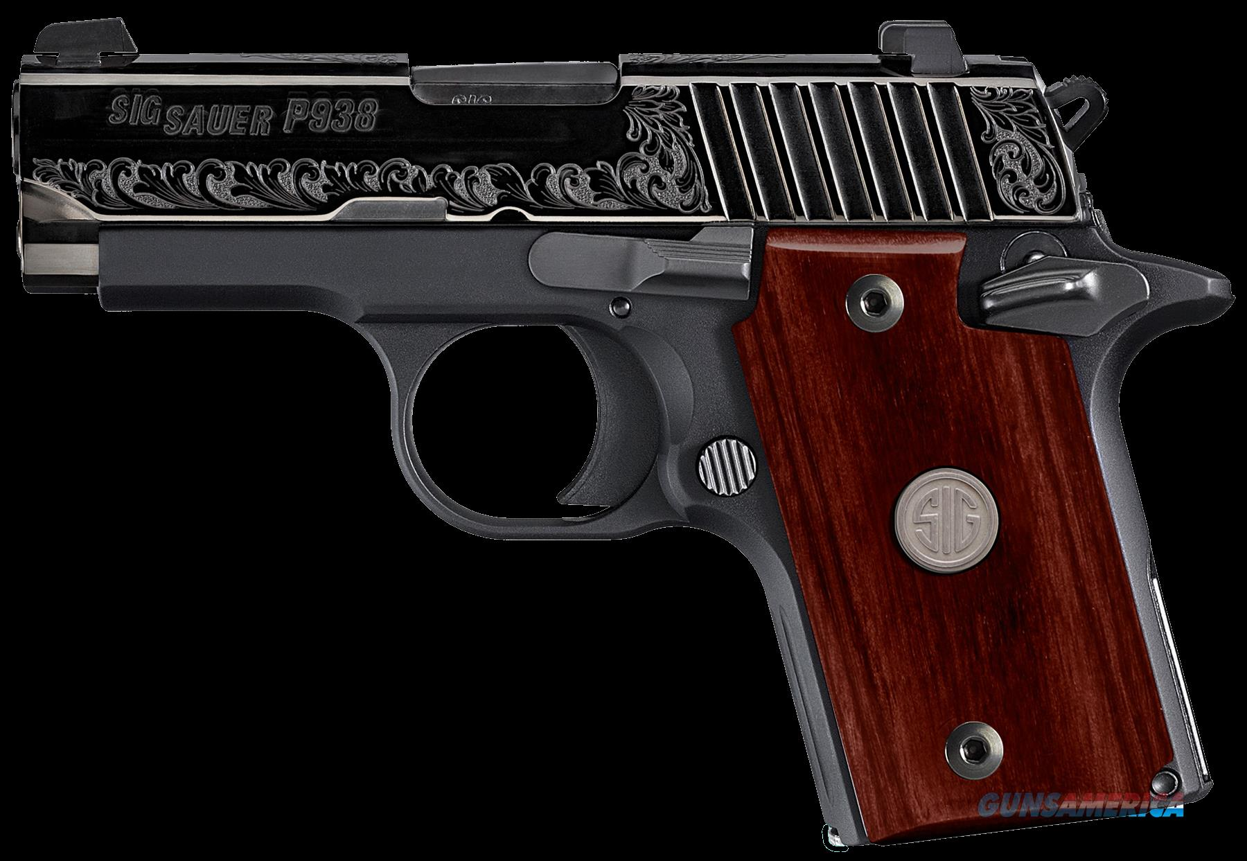 "Sig Sauer 9389ESR P938 Engraved Rosewood Single 9mm 3.0"" 6+1 Rosewood Grip Black  Guns > Pistols > S Misc Pistols"
