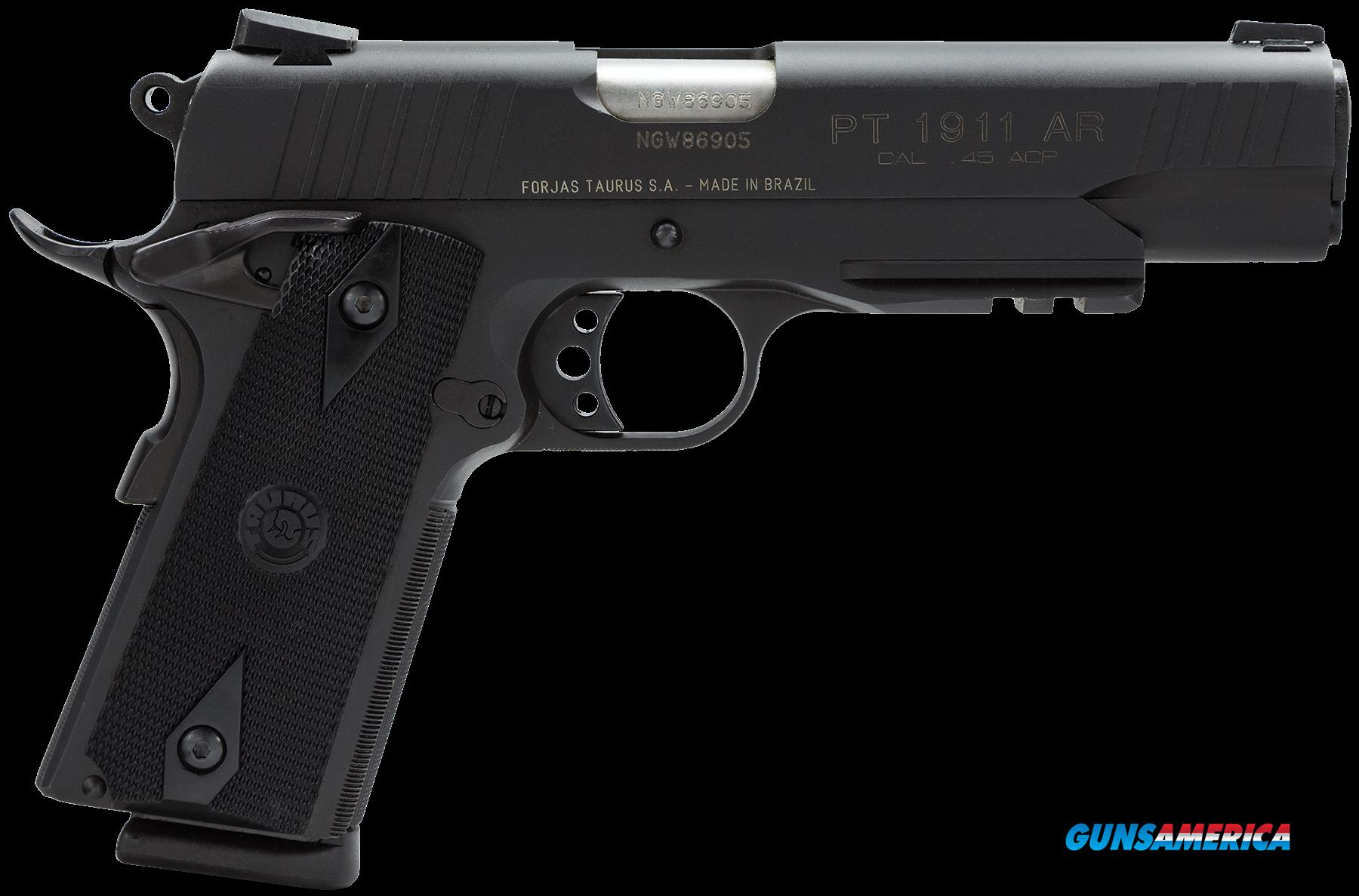 "Taurus 1191101B1 1911 Std 45 ACP 5"" 8+1 w/Light Rail Heinie Sight Blk Grip Blue  Guns > Pistols > Taurus Pistols > Semi Auto Pistols > Steel Frame"