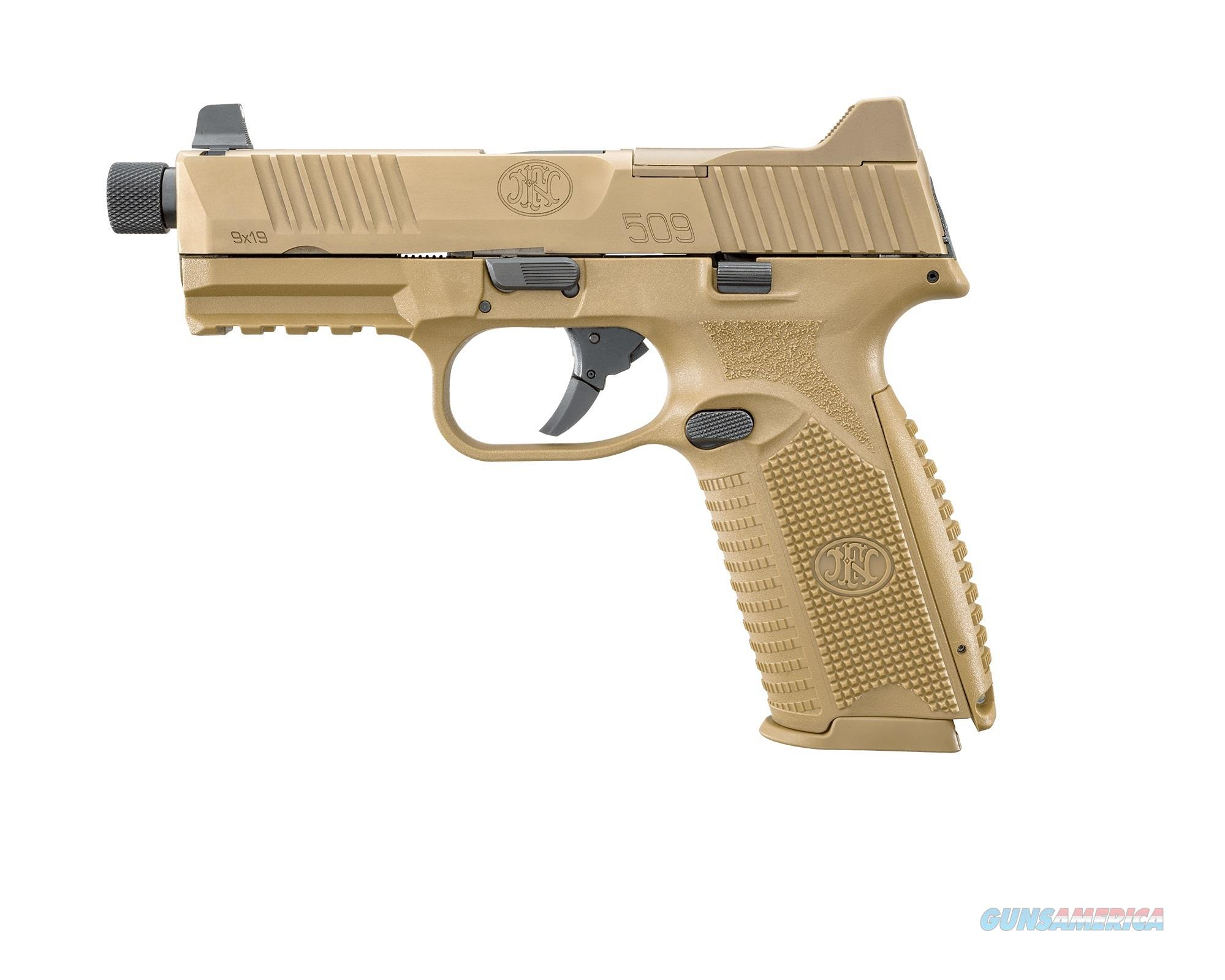 "FN 66100383 FN 509 Tactical 9mm Luger Double 4.5"" 10+1 Flat Dark Earth Interchangeable Backstrap  Guns > Pistols > F Misc Pistols"