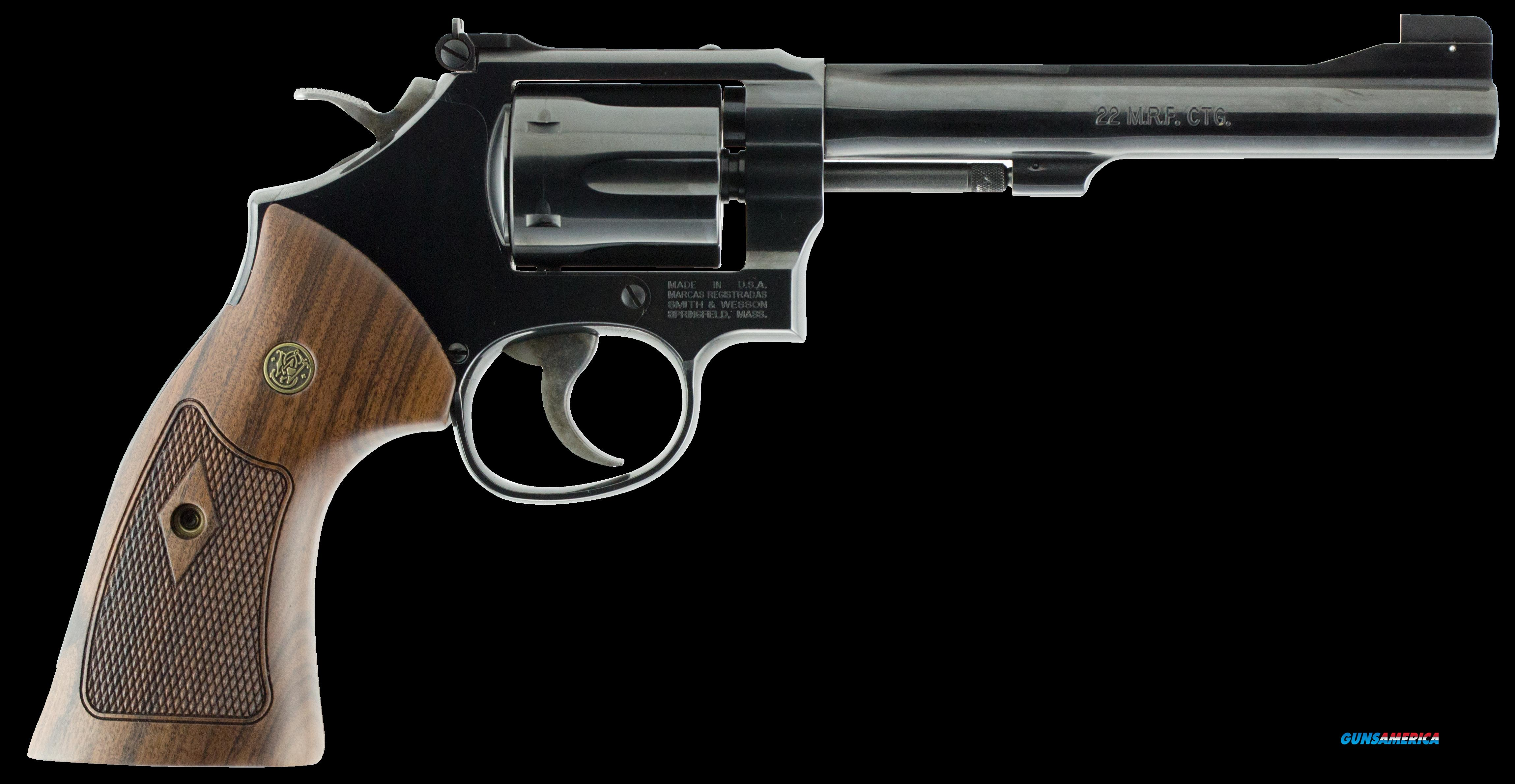 "Smith & Wesson 150718 48 Classic Single/Double 22 Winchester Magnum Rimfire (WMR) 6"" 6 Wood Blued  Guns > Pistols > S Misc Pistols"