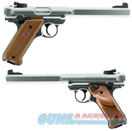 "Ruger 40112 Mark IV Competition 22 LR SAO 6.88"" 10+1 Checkered Laminate w/Thumbrest Grip Satin  Guns > Pistols > R Misc Pistols"