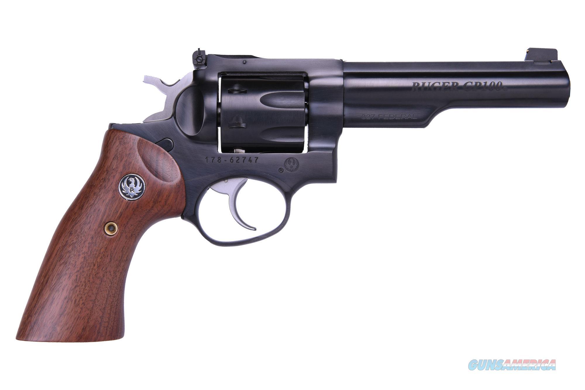 Ruger GP100 327FED BLUE 5 HALF LUG 1769 ADJ SGTS/WALNUT GRIPS  Guns > Pistols > Ruger Double Action Revolver > SP101 Type