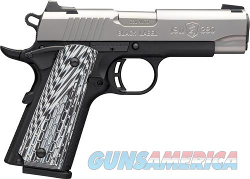 """Browning 051924492 1911-380 Black Label Pro Compact 380 ACP 3.63"""" 8+1 Black Stainless Steel  Guns > Pistols > Browning Pistols > Other Autos"""