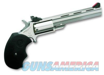 "NAA MMTC Magnum Mini Master Single 22 Winchester Magnum Rimfire (WMR) 4"" 5 Black Rubber Black  Guns > Pistols > North American Arms Pistols"