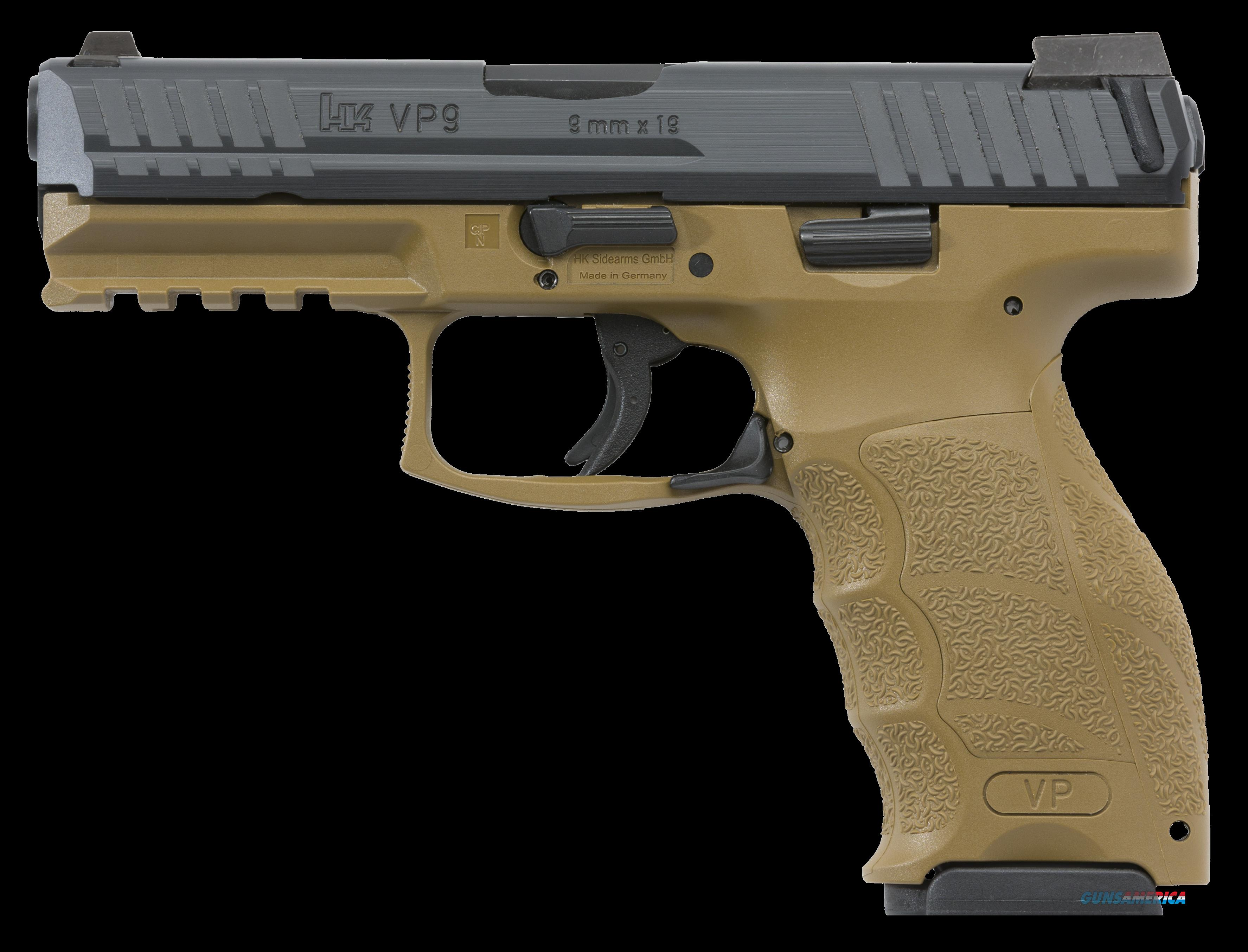 "HK 700009FDELELA5 VP9 Double 9mm Luger 4.09"" 10+1 3 Mags NS Flat Dark Earth Interchangeable  Guns > Pistols > H Misc Pistols"