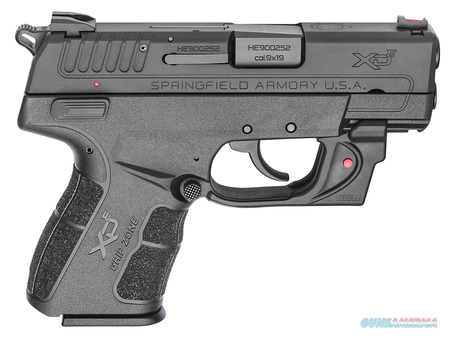 Springfield Armory XD-E 9MM BLK 3.3 9+1 RED LSR VIRIDIAN RED LASER | 2 MAGS  Guns > Pistols > Springfield Armory Pistols > XD-E
