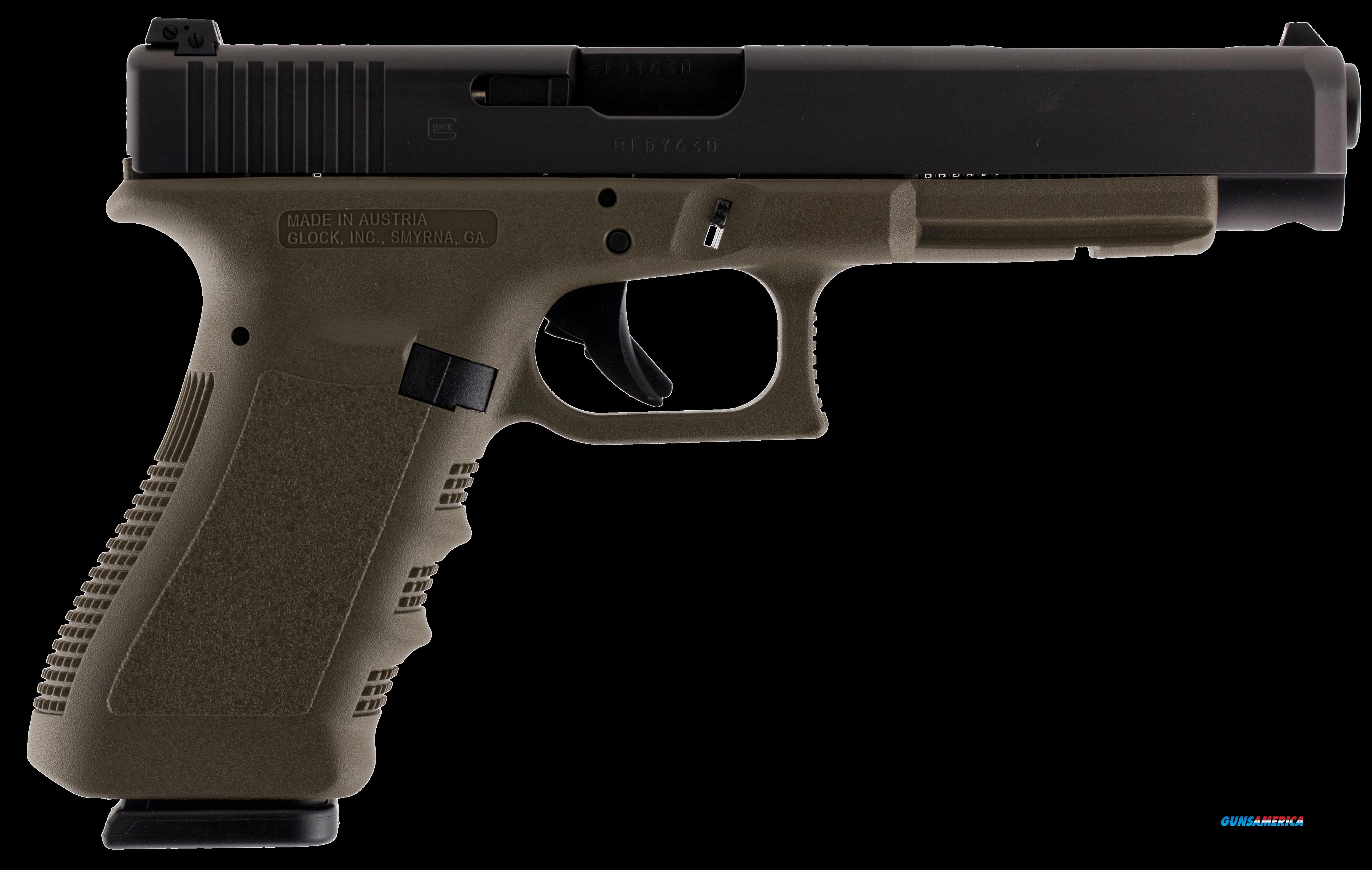 "Glock PI3437101 G34 Double 9mm Luger 5.3"" 10+1 OD Green Grip Black  Guns > Pistols > G Misc Pistols"