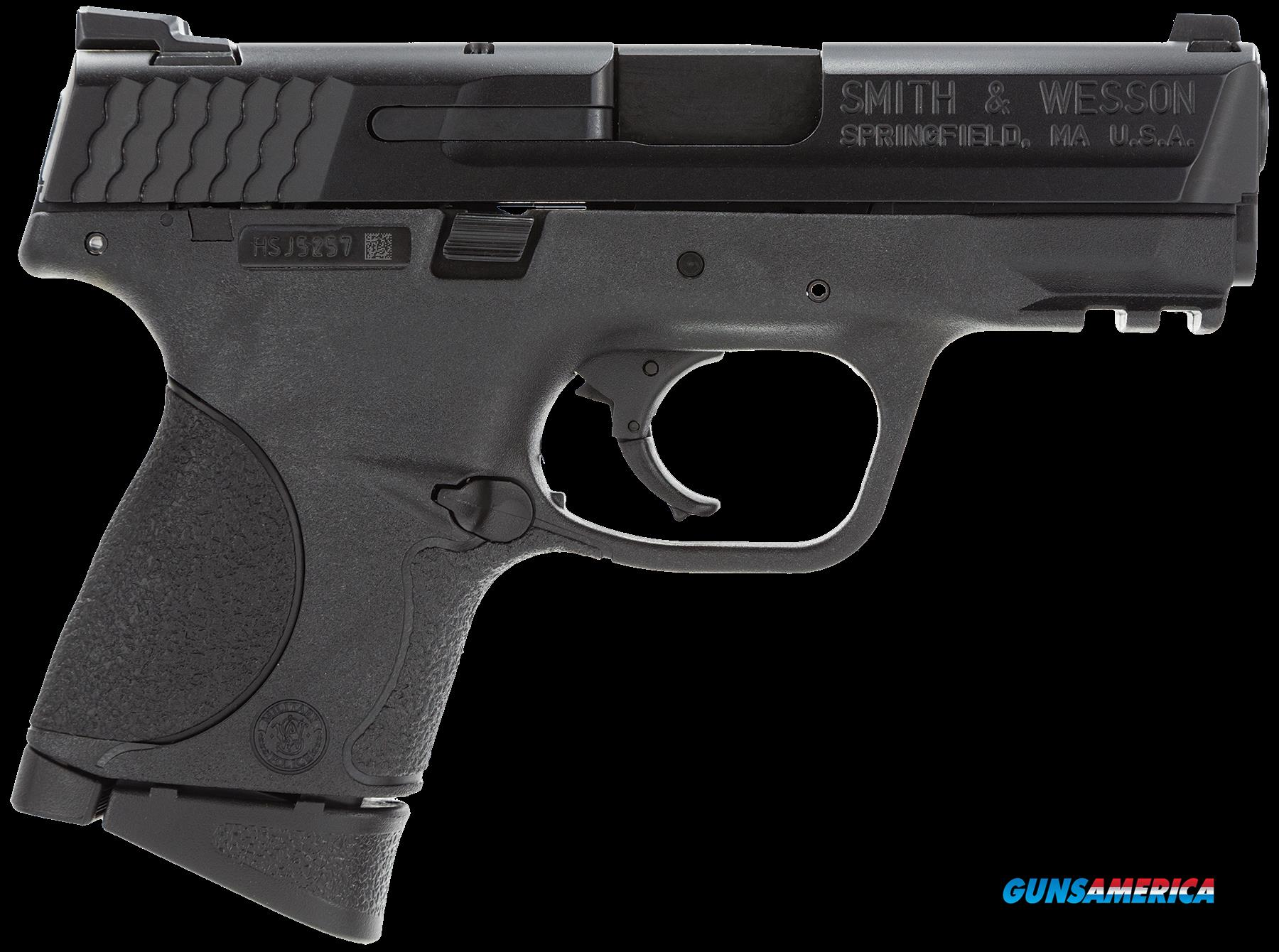 "Smith & Wesson 109254 M&P 9 Compact *MA Compliant* Double 9mm Luger 3.5"" 10+1 Black Interchangeable  Guns > Pistols > S Misc Pistols"