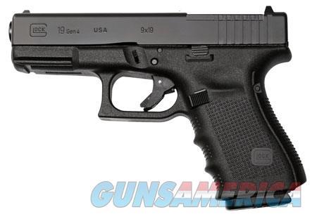 "Glock PG1950203MOS G19 Gen 4 Compact MOS Double 9mm Luger 4.01"" 15+1 Black Interchangeable Backstrap  Guns > Pistols > Glock Pistols > 19/19X"