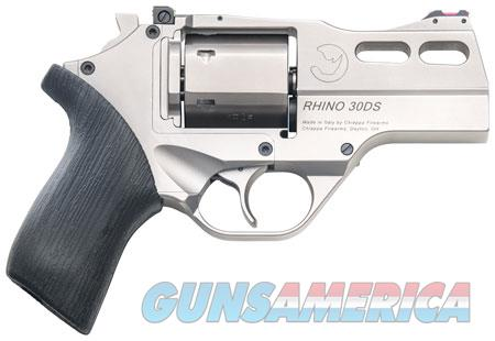 "Chiappa Firearms 340290 Rhino 30DS Single/Double 357 Magnum 3"" 6 rd Black Rubber Grip Nickel  Guns > Pistols > C Misc Pistols"