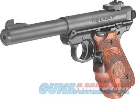 """Ruger 40159 Mark IV Target 22 LR SAO 5.50"""" 10+1 Laminate Wood Grip Blued Steel Slide  Guns > Pistols > R Misc Pistols"""