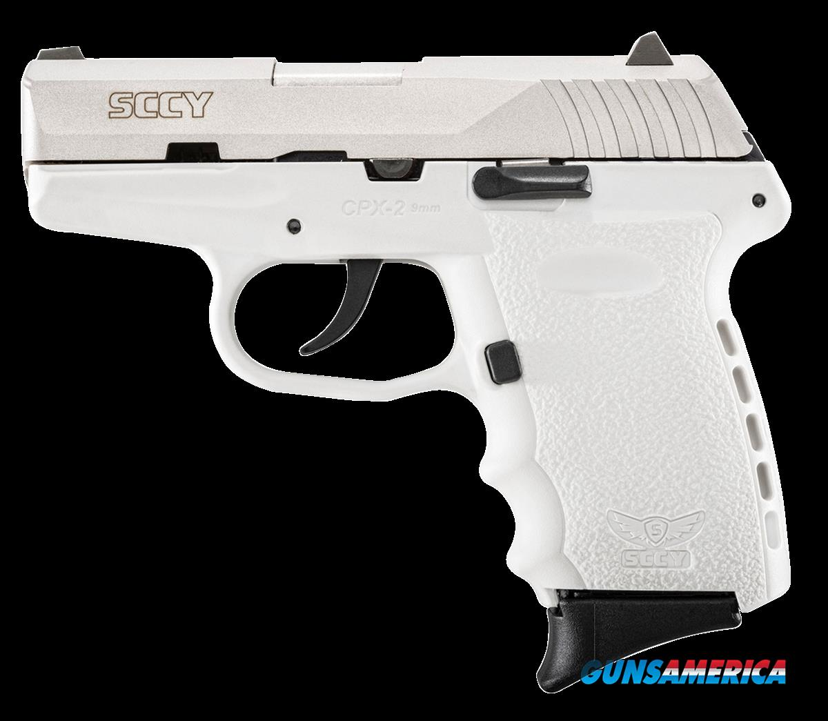"SCCY Industries CPX2TTWT CPX-2 Double 9mm 3.1"" 10+1 White Polymer Grip/Frame Grip Stainless Steel  Guns > Pistols > S Misc Pistols"