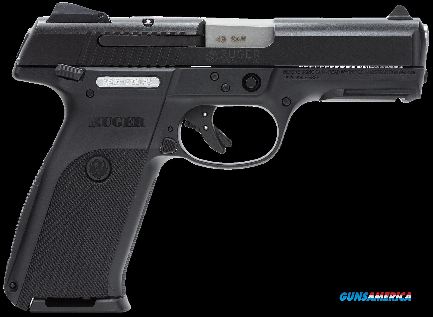 "Ruger 3471 SR40 Standard Double 40 Smith & Wesson (S&W) 4.14"" 15+1/10+1 Black Polymer Grip Black  Guns > Pistols > R Misc Pistols"