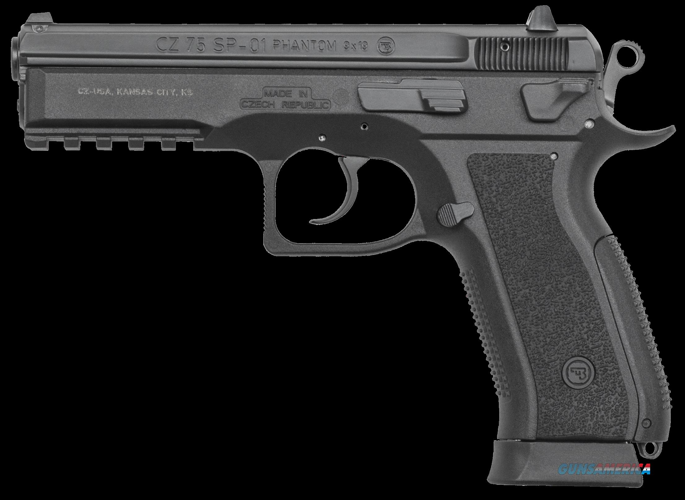 "CZ 91258 SP-01 Phantom Single/Double 9mm 4.6"" 18+1 Black Interchangeable Backstrap Grip Black  Guns > Pistols > C Misc Pistols"