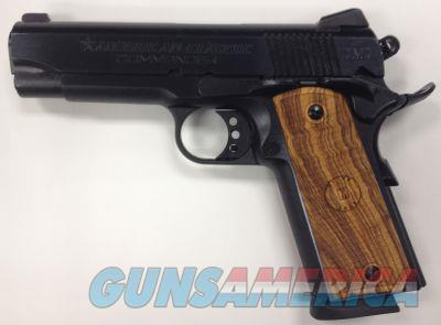"American Classic ACC9B 1911 Commander Single 9mm Luger 4.25"" 9+1 Hardwood w/MAC Logo Grip Blued  Guns > Pistols > Desert Eagle/IMI Pistols > Other"
