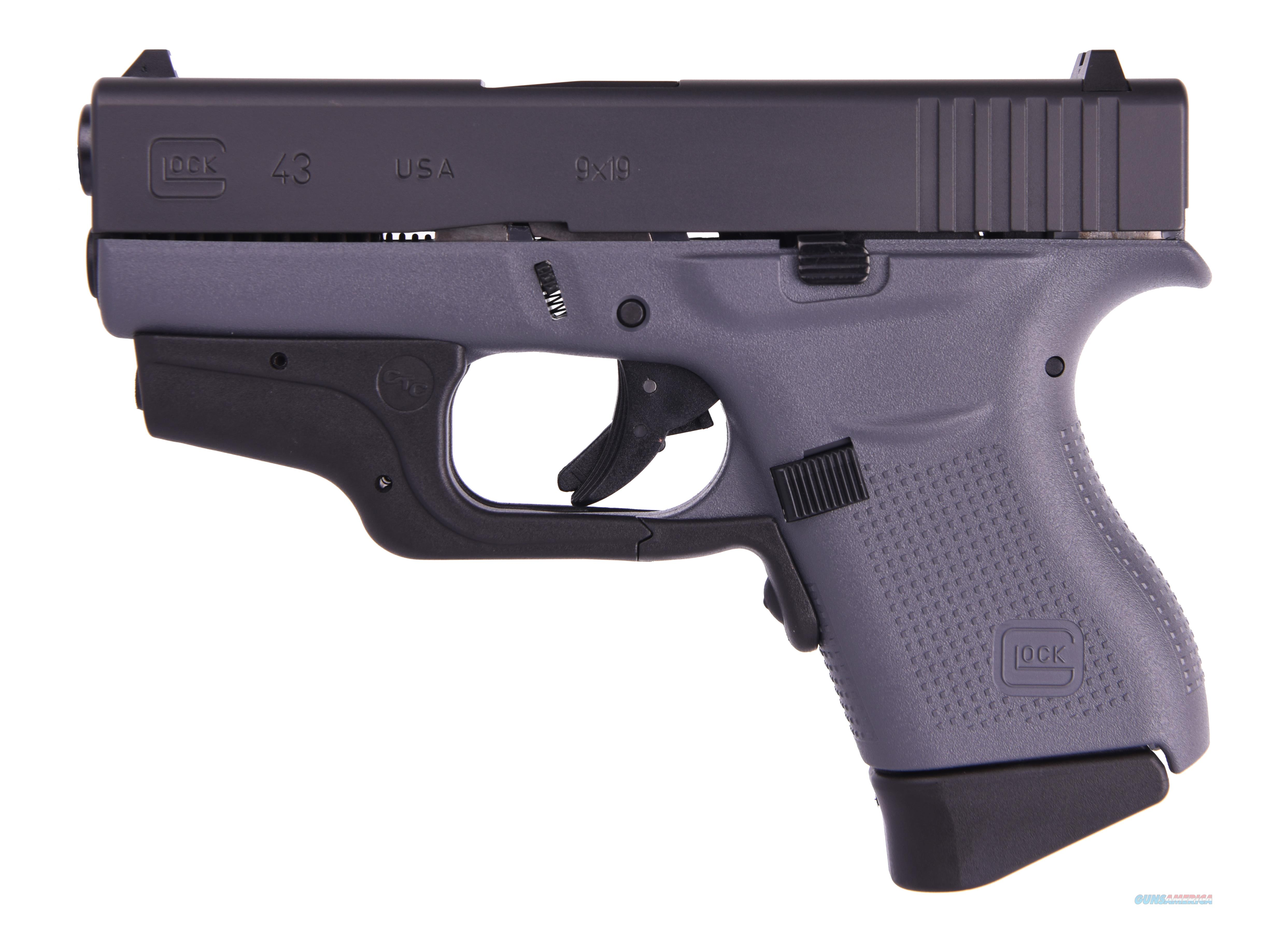 GLOCK G43 G3 GRAY 9MM 6+1 3.39 LASER TWO 6RD MAGAZINES  Guns > Pistols > G Misc Pistols