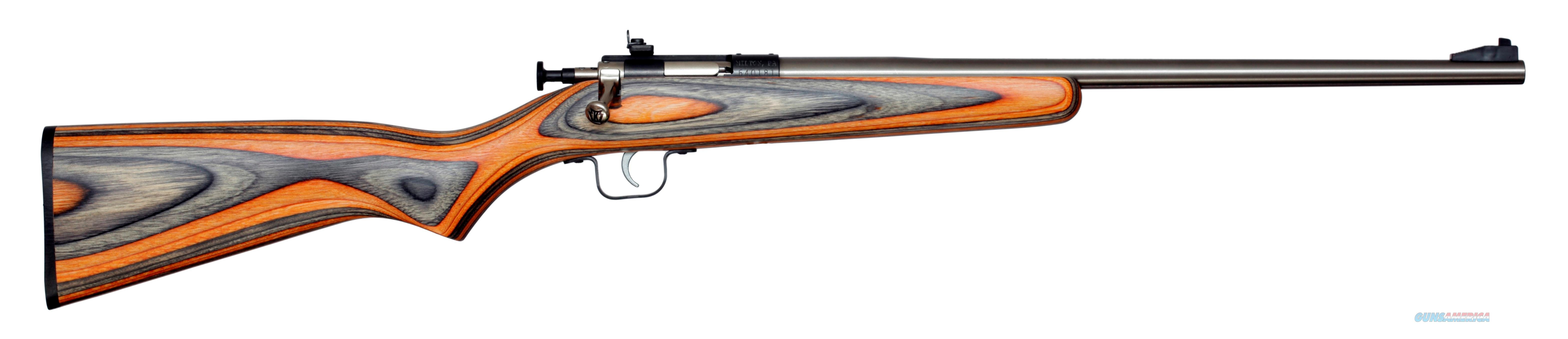Keystone Sporting Arms CRICKETT 22LR SS/BLK-ORNGE LAM BLUE RECEIVER W/STAINLESS BBL  Guns > Rifles > K Misc Rifles