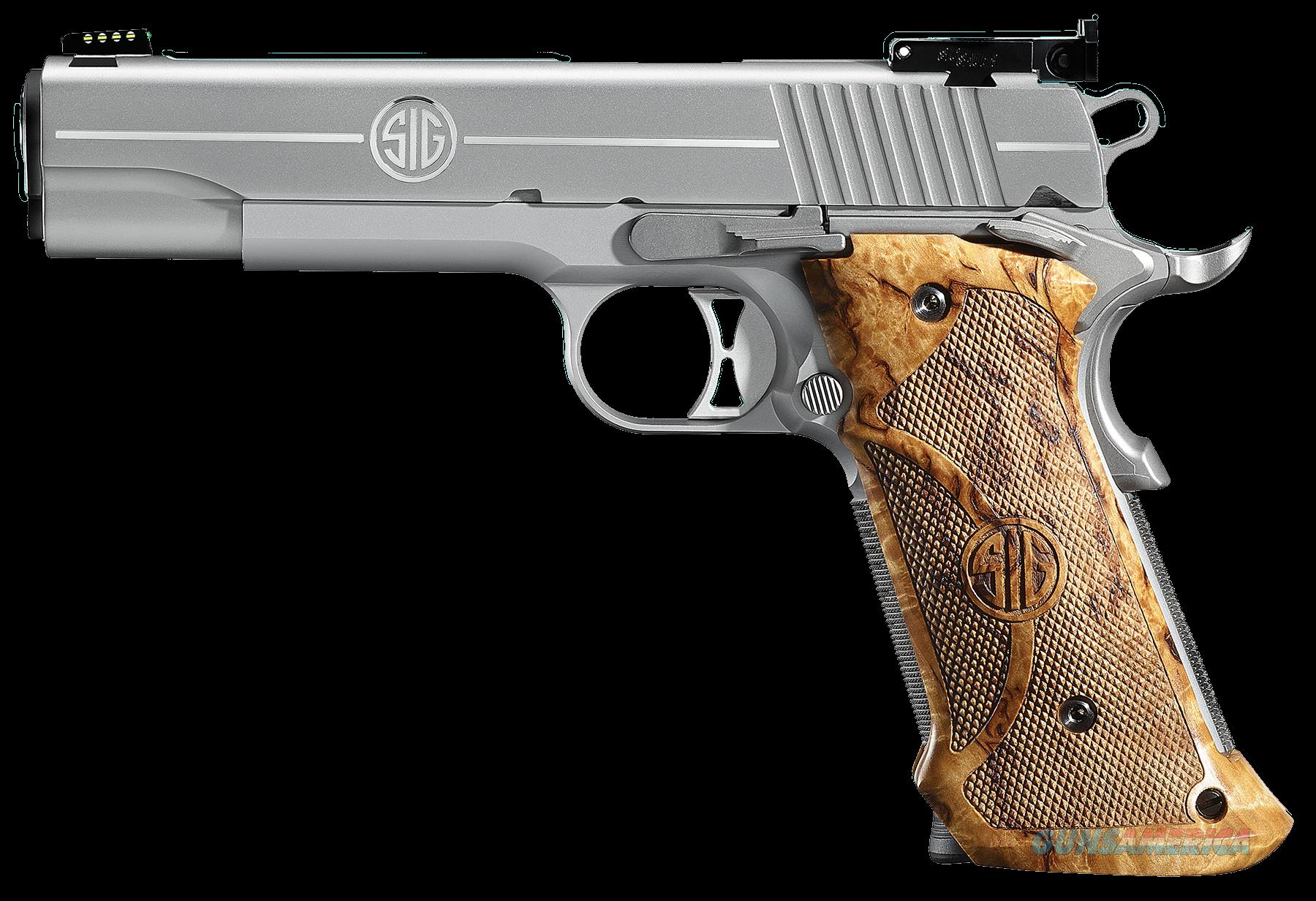 "Sig 191145SSTGT 1911 Stainless Super Target SAO 45 ACP 5"" 8+1 AS Wood Grip SS  Guns > Pistols > Sig - Sauer/Sigarms Pistols > 1911"