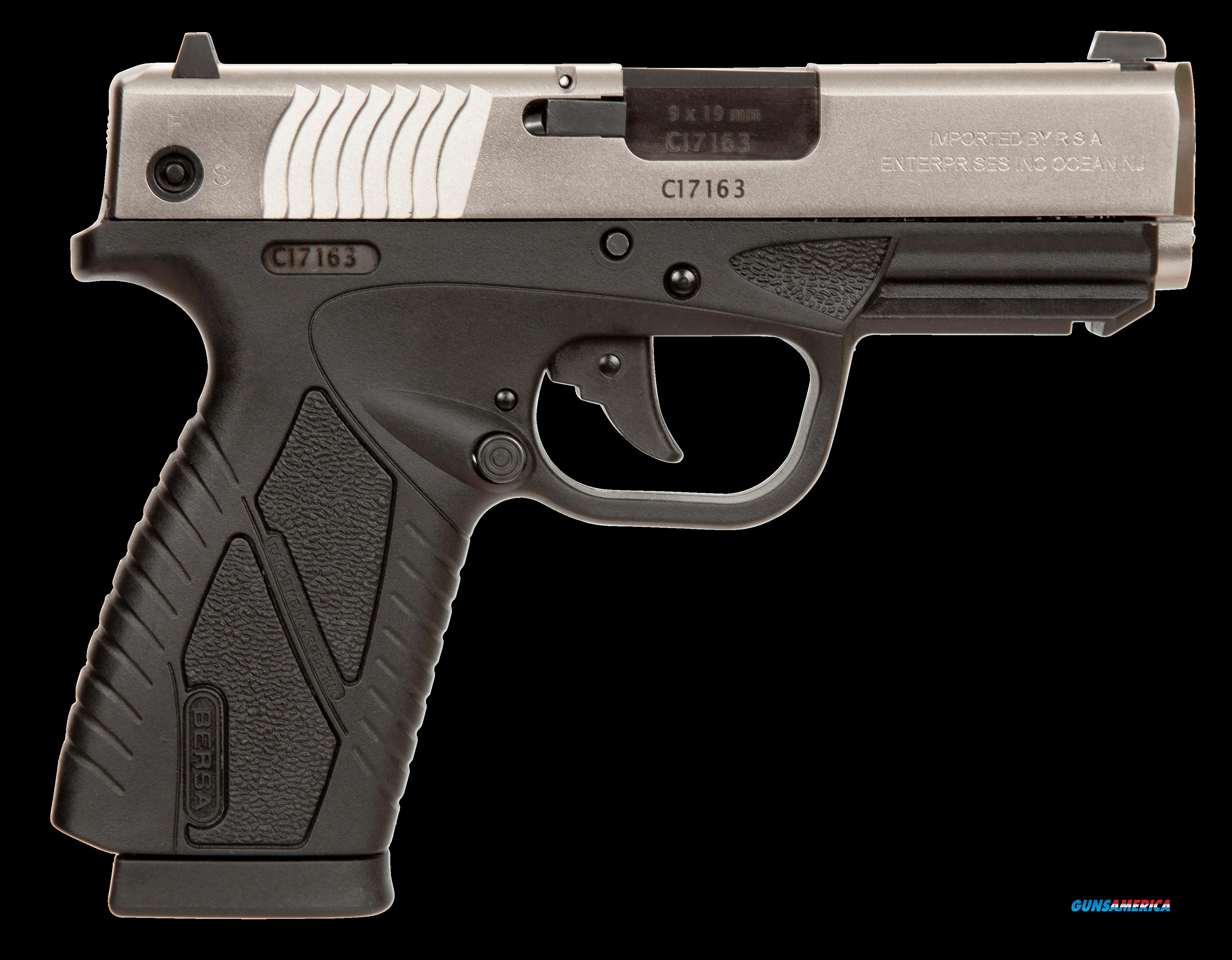 "Bersa BP9DTCC BPCC Concealed Carry DAO 9mm 3.3"" 8+1 Blk Poly Frame Nickel Slide  Guns > Pistols > B Misc Pistols"