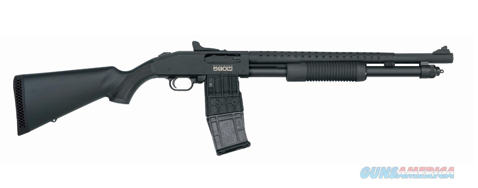 "Mossberg 50206 590M Mag-Fed Pump 12 Gauge 18.5"" CB w/Heat Shield 2.75"" 10+1 Synthetic Black Stk  Guns > Shotguns > Mossberg Shotguns > Pump"
