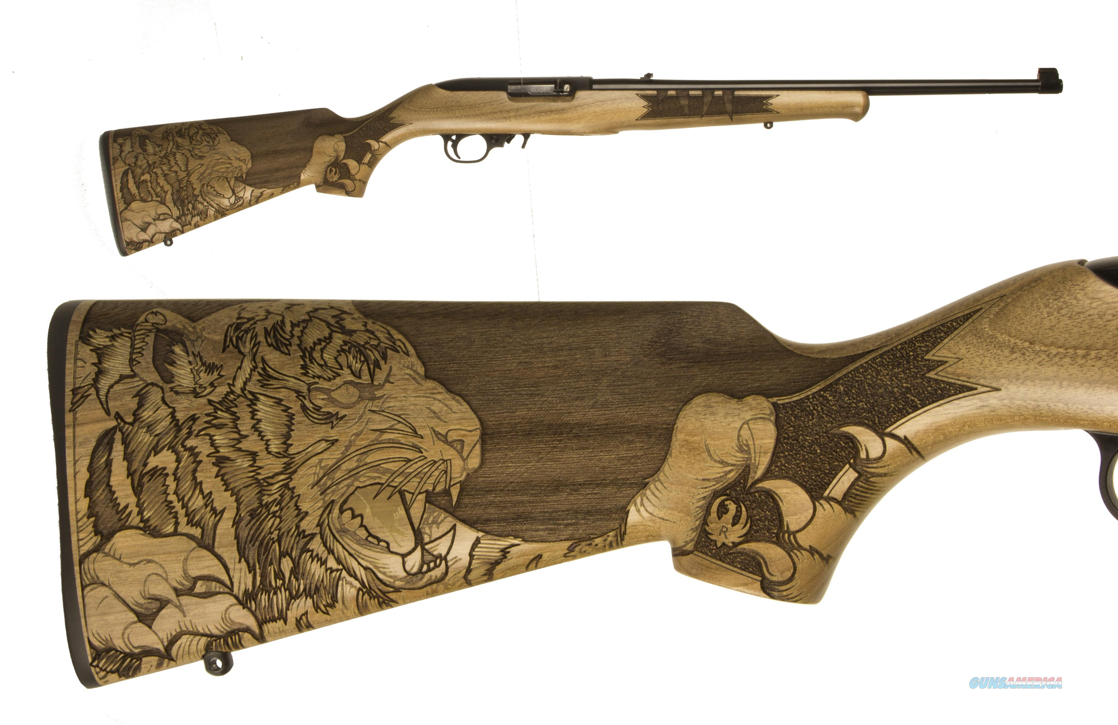 Ruger 10/22 TIGER 22LR BL/WD 18 21146 ENGRAVED TIGER STOCK  Guns > Rifles > Ruger Rifles > 10-22