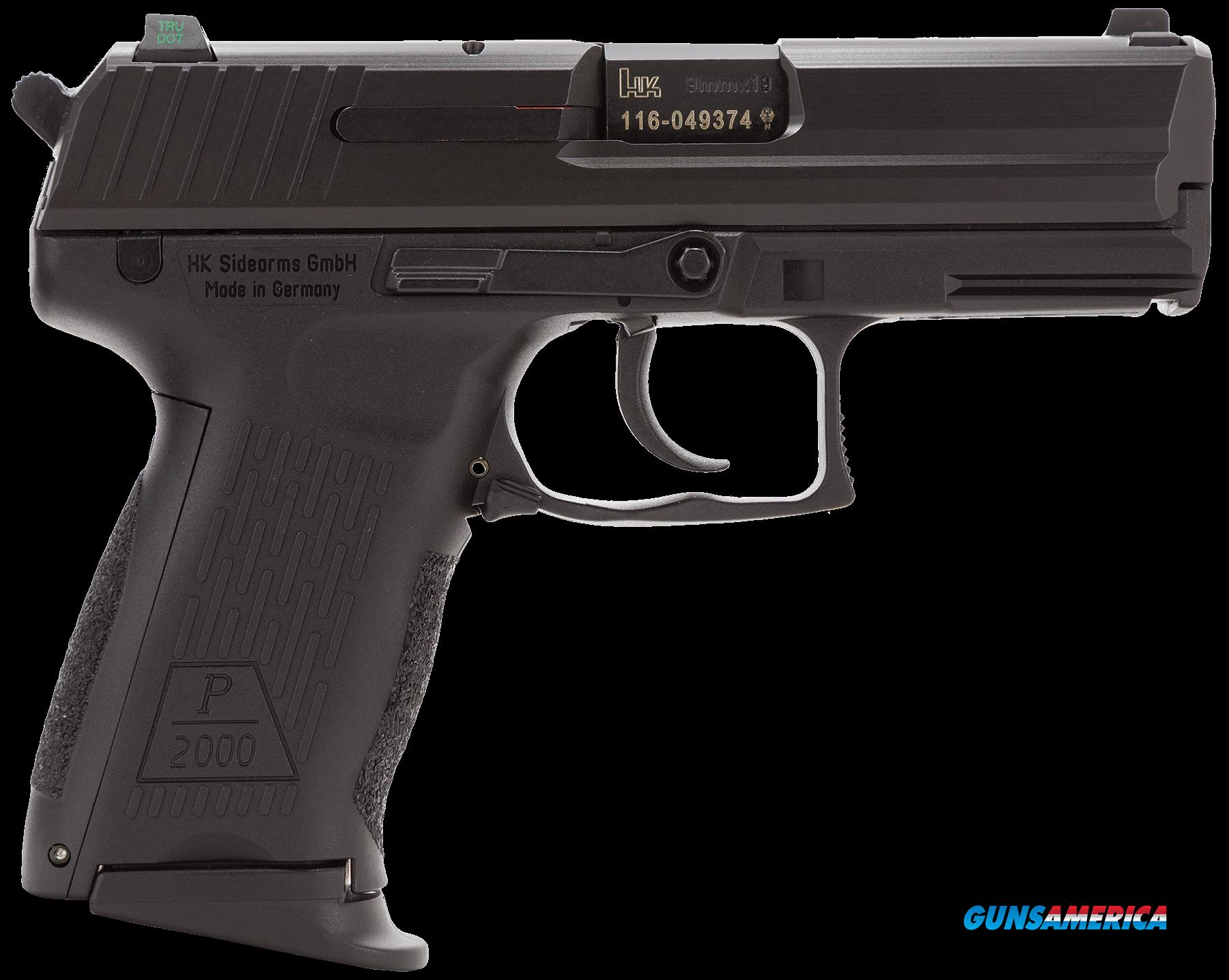 "HK 709203LE-A5 P2000 V3 DA/SA 9mm 3.66"" 13+1 3 Mags NS Black Interchangeable Backstrap Blued  Guns > Pistols > H Misc Pistols"