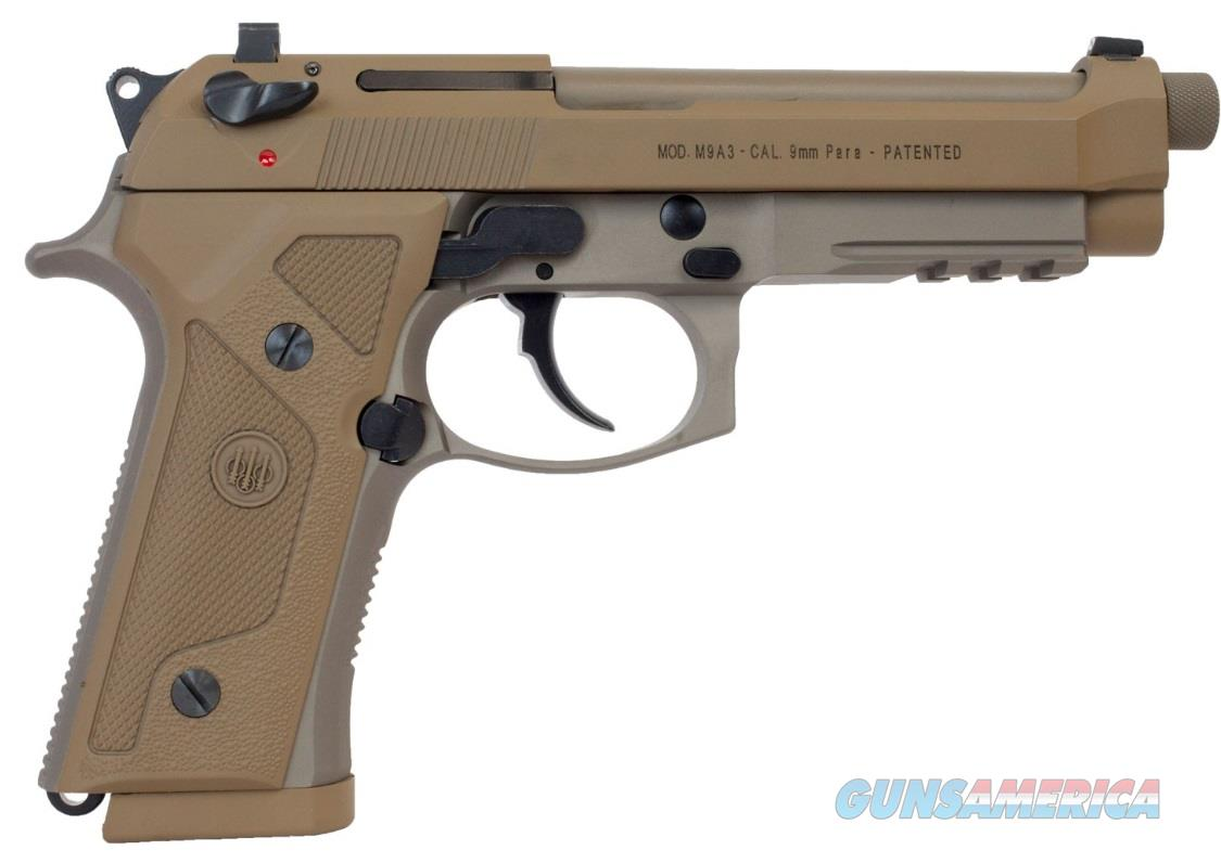 "Beretta USA J92M9A3GM M9 Italy Type G Single/Double 9mm Luger 5"" 17+1 Flat Dark Earth Hogue  Guns > Pistols > Beretta Pistols > M9"
