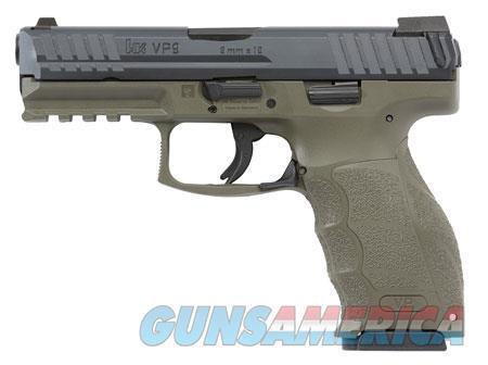 "HK 700009GRLELA VP9 *MA Compliant 9mm Luger Double 4.09"" 10+1 OD Green Interchangeable Backstrap  Guns > Pistols > Heckler & Koch Pistols > Polymer Frame"