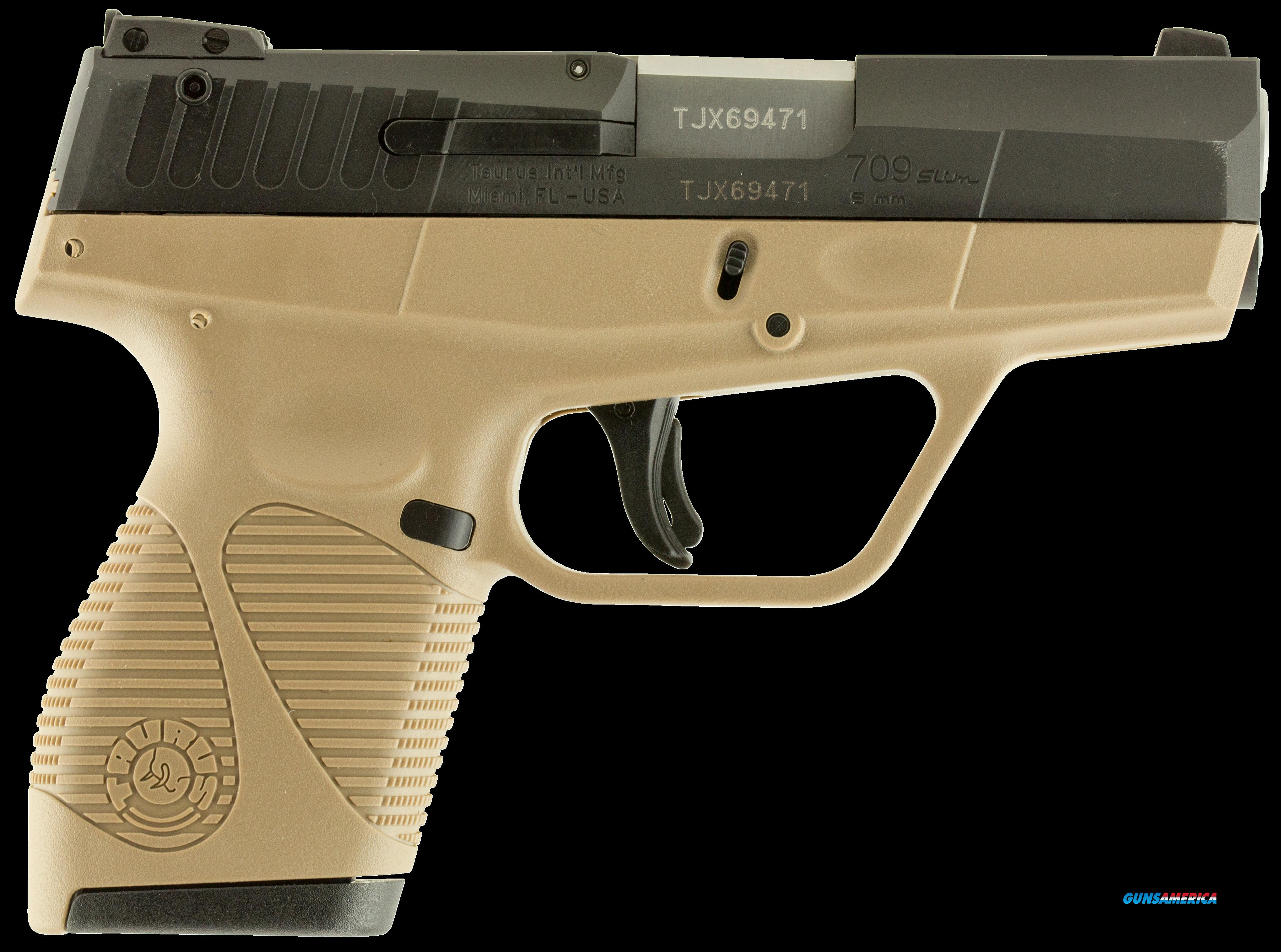 "Taurus 1709031FDE 709 Slim Single/Double 9mm Luger 3.2"" 7+1 Flat Dark Earth Polymer Grip/Frame Grip  Guns > Pistols > TU Misc Pistols"