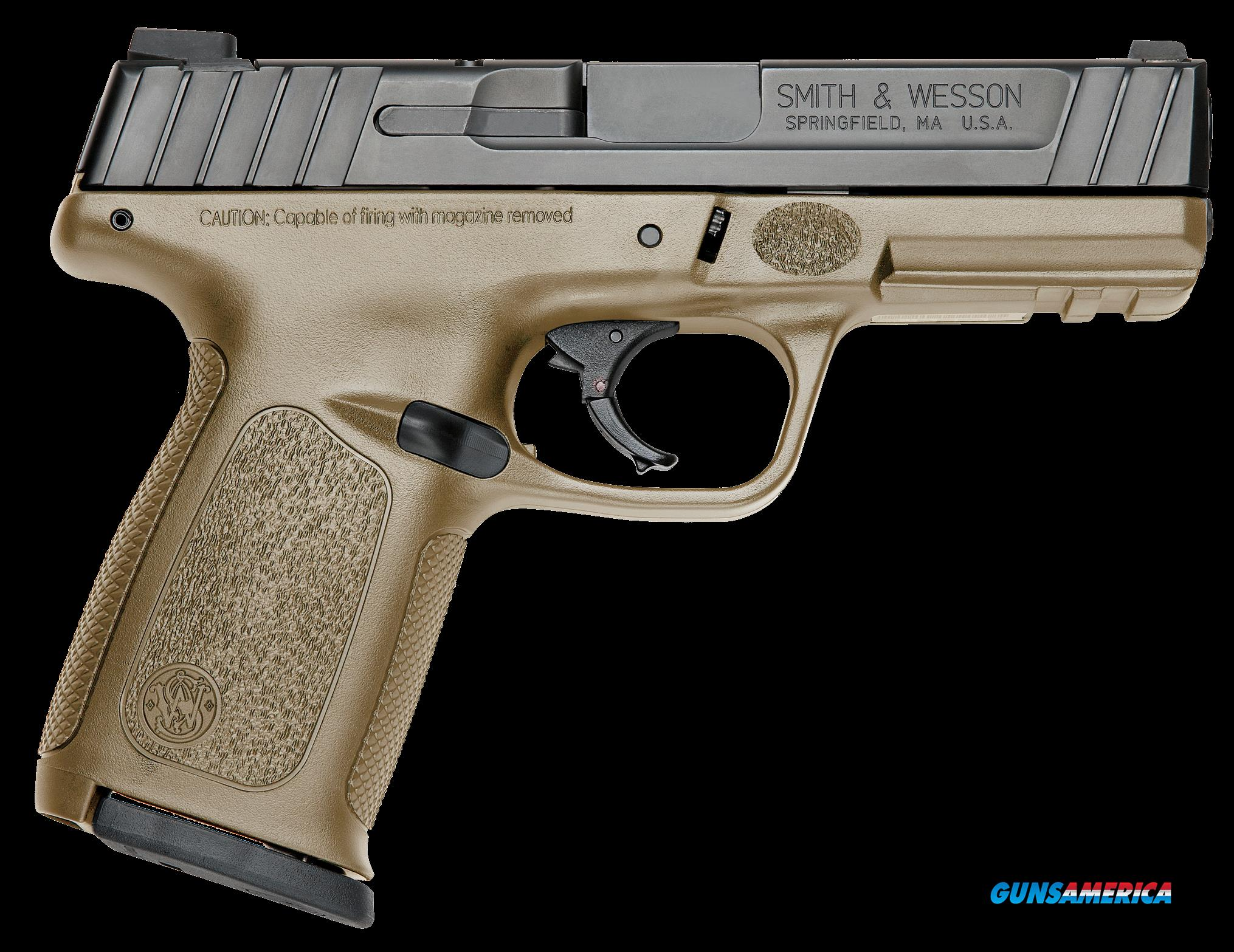 "Smith & Wesson 11998 SD Double 9mm Luger 4"" 16+1 Flat Dark Earth Polymer Grip Black Armornite  Guns > Pistols > S Misc Pistols"