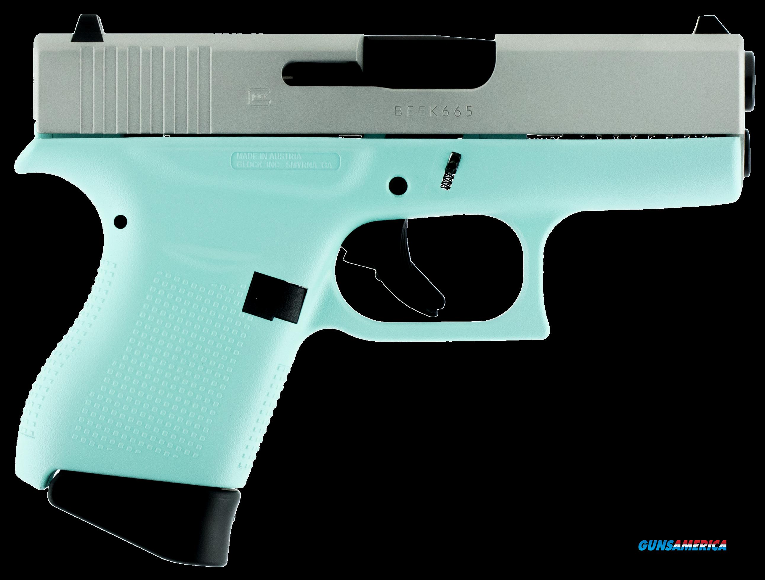"Glock PI4350201RES G43 Subcompact Double 9mm Luger 3.39"" 6+1 Robin Egg Blue Polymer Grip/Frame Grip  Guns > Pistols > G Misc Pistols"