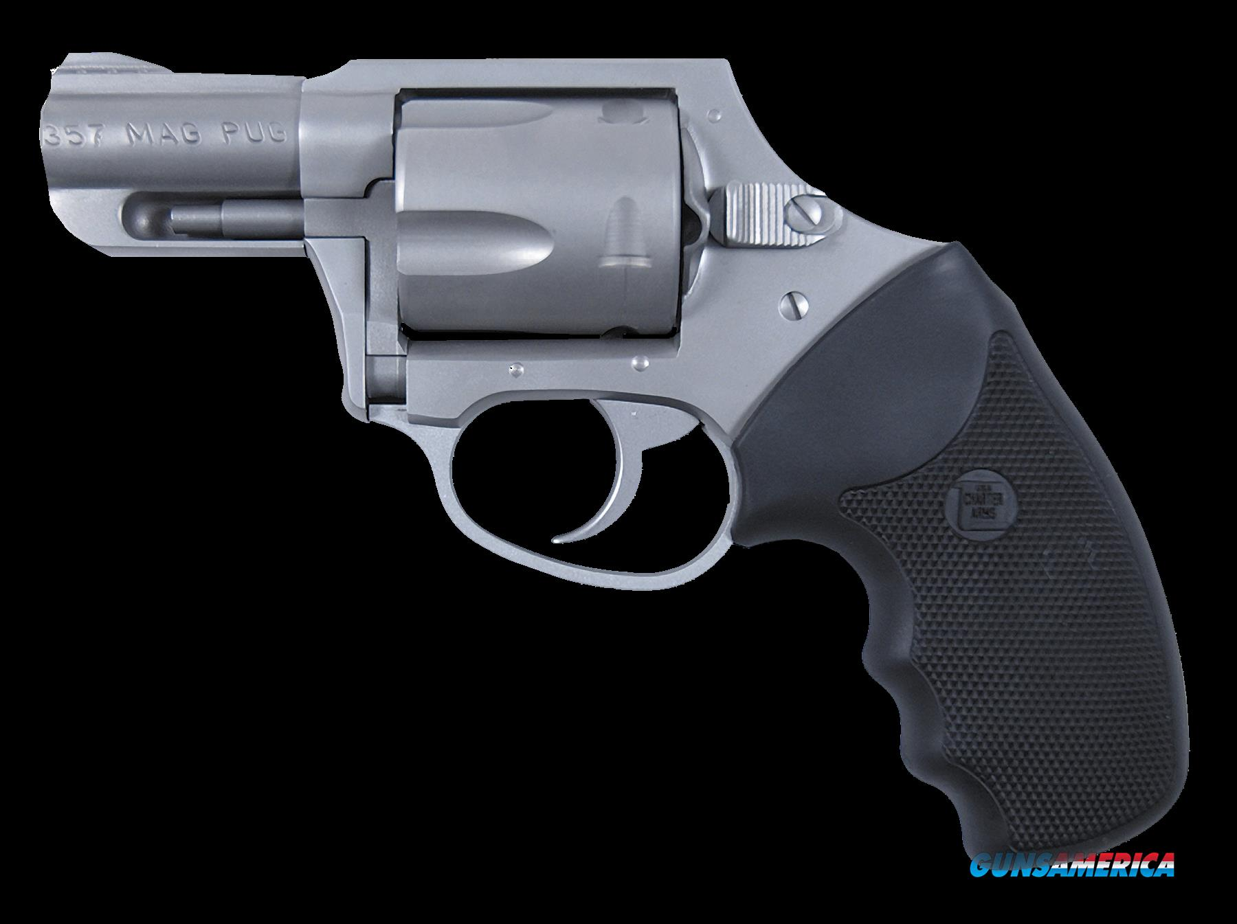 "Charter Arms 73521 Mag Pug Double Action Only  357 Magnum 2.2"" 5 Black Rubber Stainless  Guns > Pistols > Charter Arms Revolvers"
