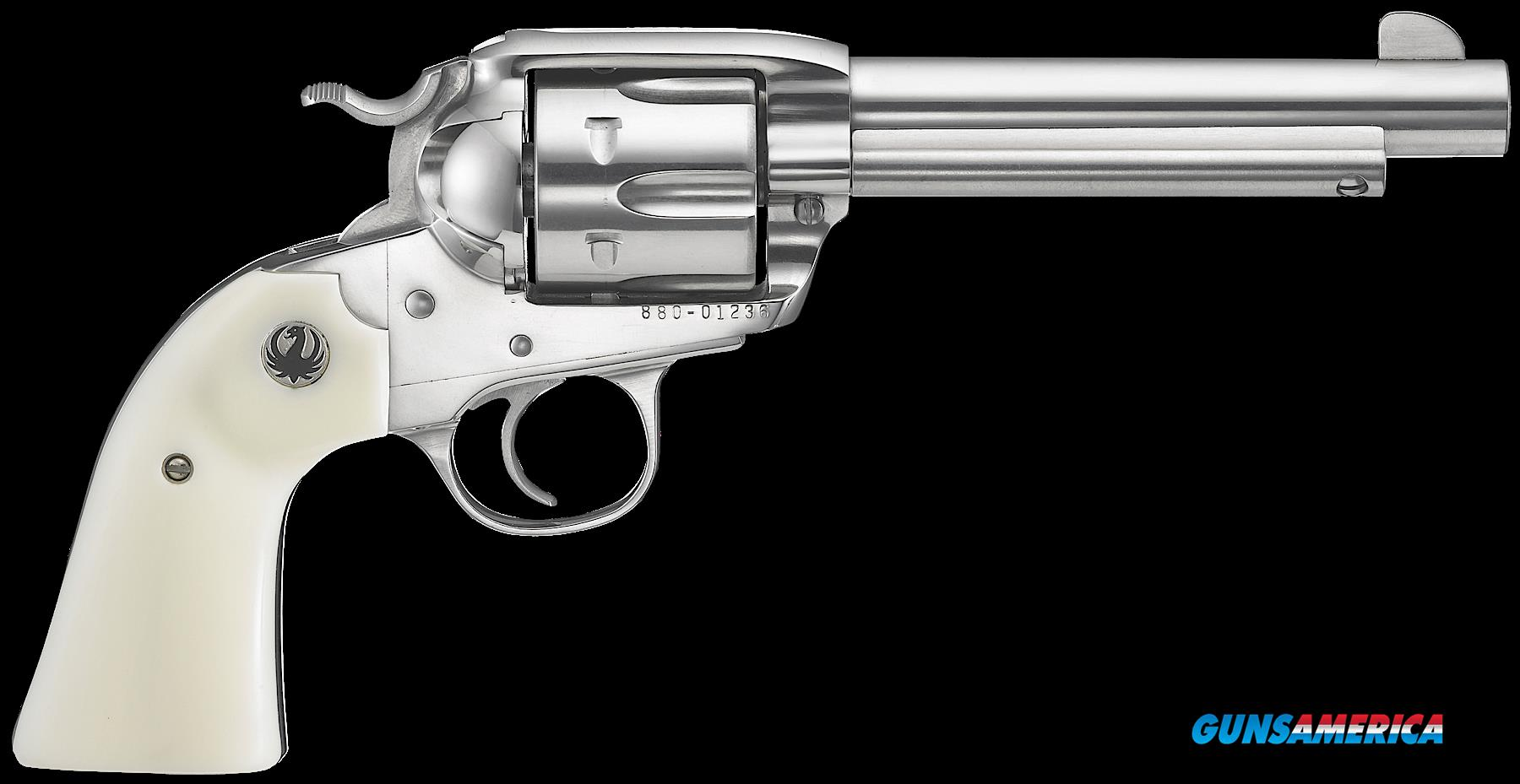 "Ruger 5130 Vaquero Bisley Single 357 Magnum 5.5"" 6 rd Ivory Synthetic Grip Stainless Steel  Guns > Pistols > R Misc Pistols"
