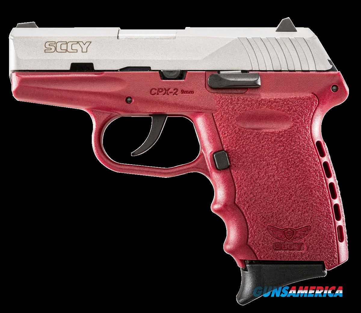 "SCCY Industries CPX2TTCR CPX-2 Double 9mm 3.1"" 10+1 Crimson Polymer Grip/Frame Grip Stainless Steel  Guns > Pistols > S Misc Pistols"