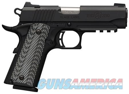Browning 051909492 1911-380 Black Label Pro Compact with Rail Single 380 Automatic Colt Pistol (ACP)  Guns > Pistols > Browning Pistols > Other Autos