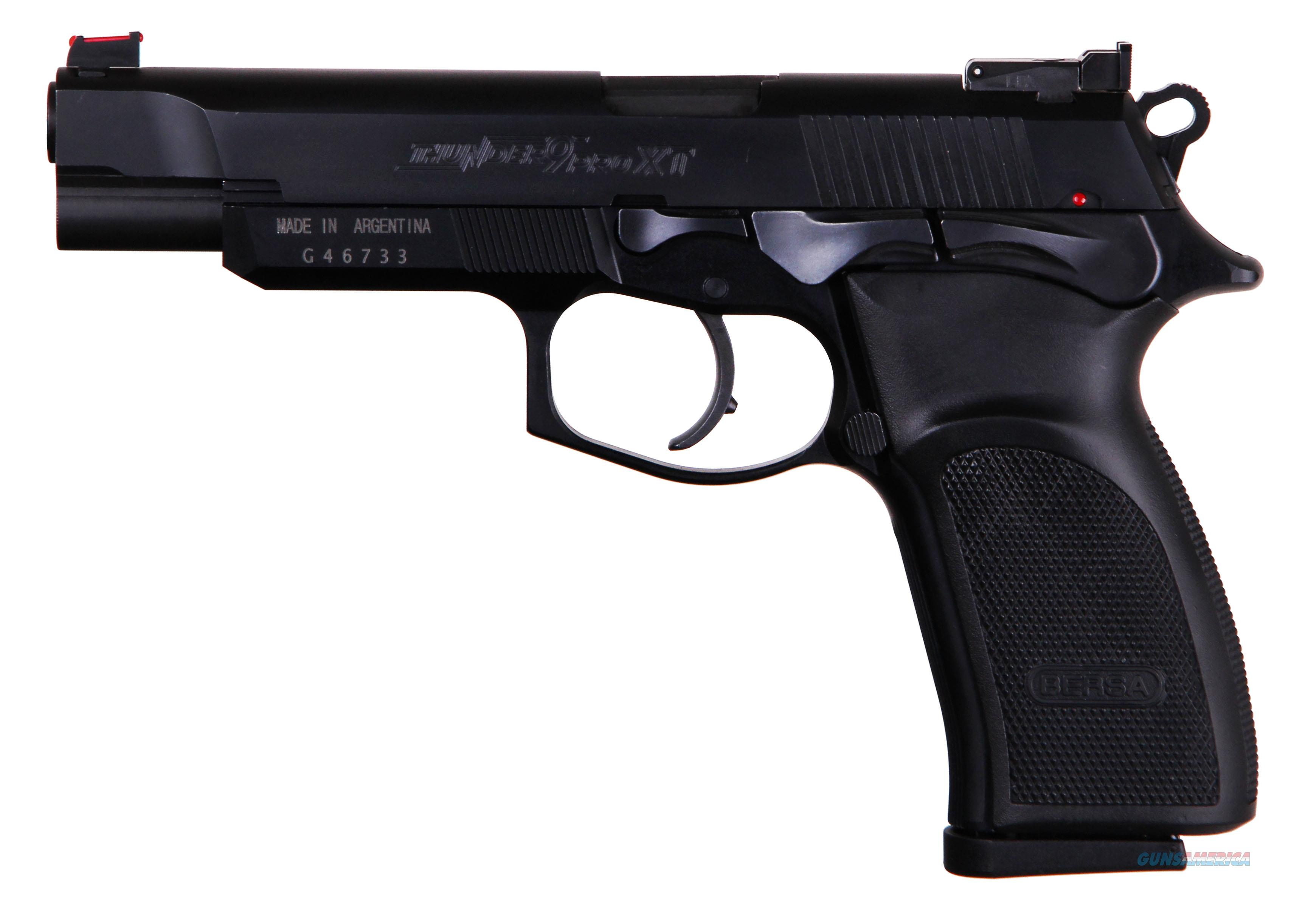 "Bersa T9MPXT Thunder Pro XT Single/Double 9mm Luger 4.96"" 17+1 Black Polymer Grip Black  Guns > Pistols > B Misc Pistols"