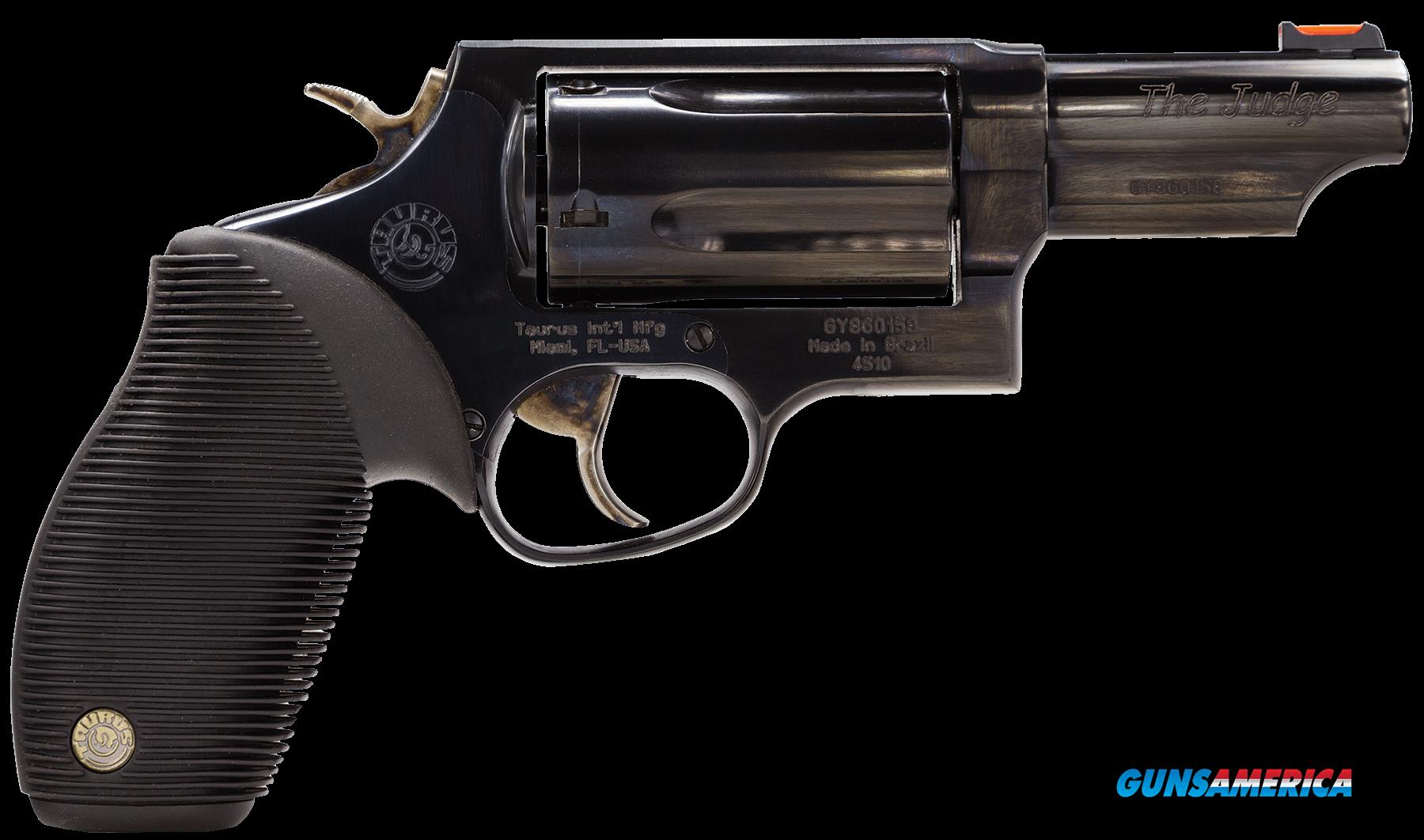 "Taurus 2441031T Judge 45/410 Single/Double 45 Colt (LC)/410 3"" 5 Black Ribber Blued  Guns > Pistols > Taurus Pistols > Revolvers"