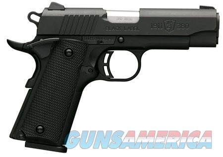 "Browning 051905492 1911-380 Black Label Compact 380 ACP 3.625"" 8+1 Black Polymer  Guns > Pistols > Browning Pistols > Other Autos"