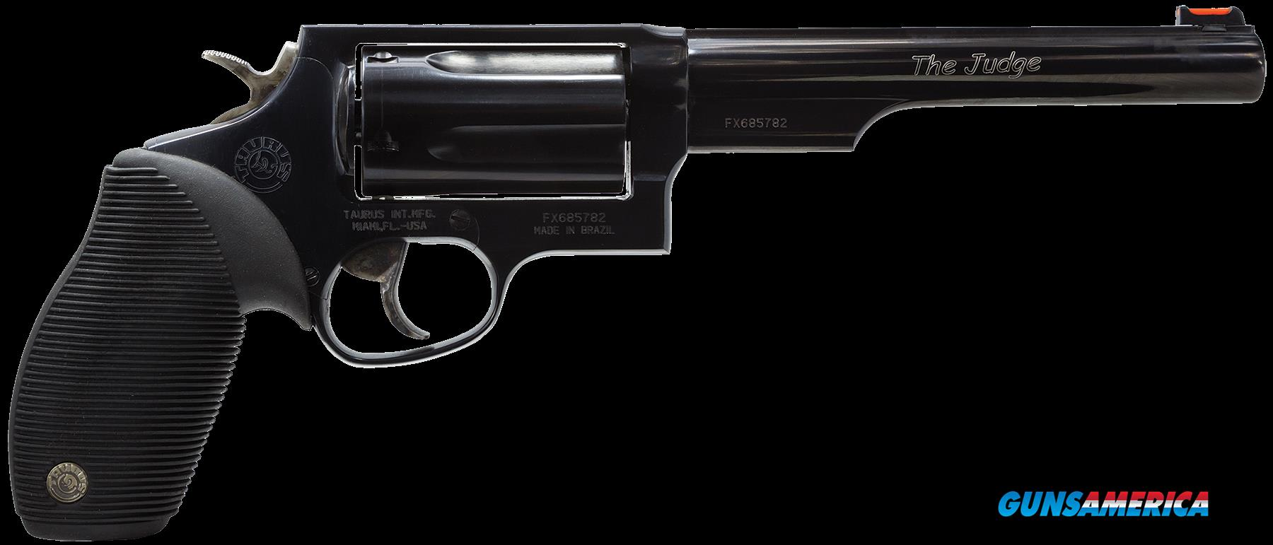 "Taurus 2441061T Judge 45/410 Single/Double 45 Colt (LC)/410 6.5"" 5 Black Ribber Blued  Guns > Pistols > Taurus Pistols > Revolvers"